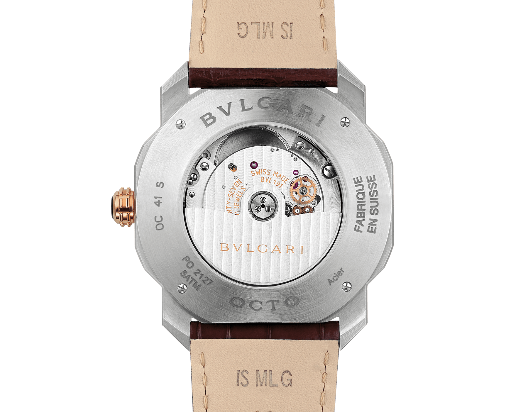 Octo Roma watch with mechanical manufacture movement, automatic winding, stainless steel case, dark brown lacquered dial and brown alligator bracelet. 102705 image 4