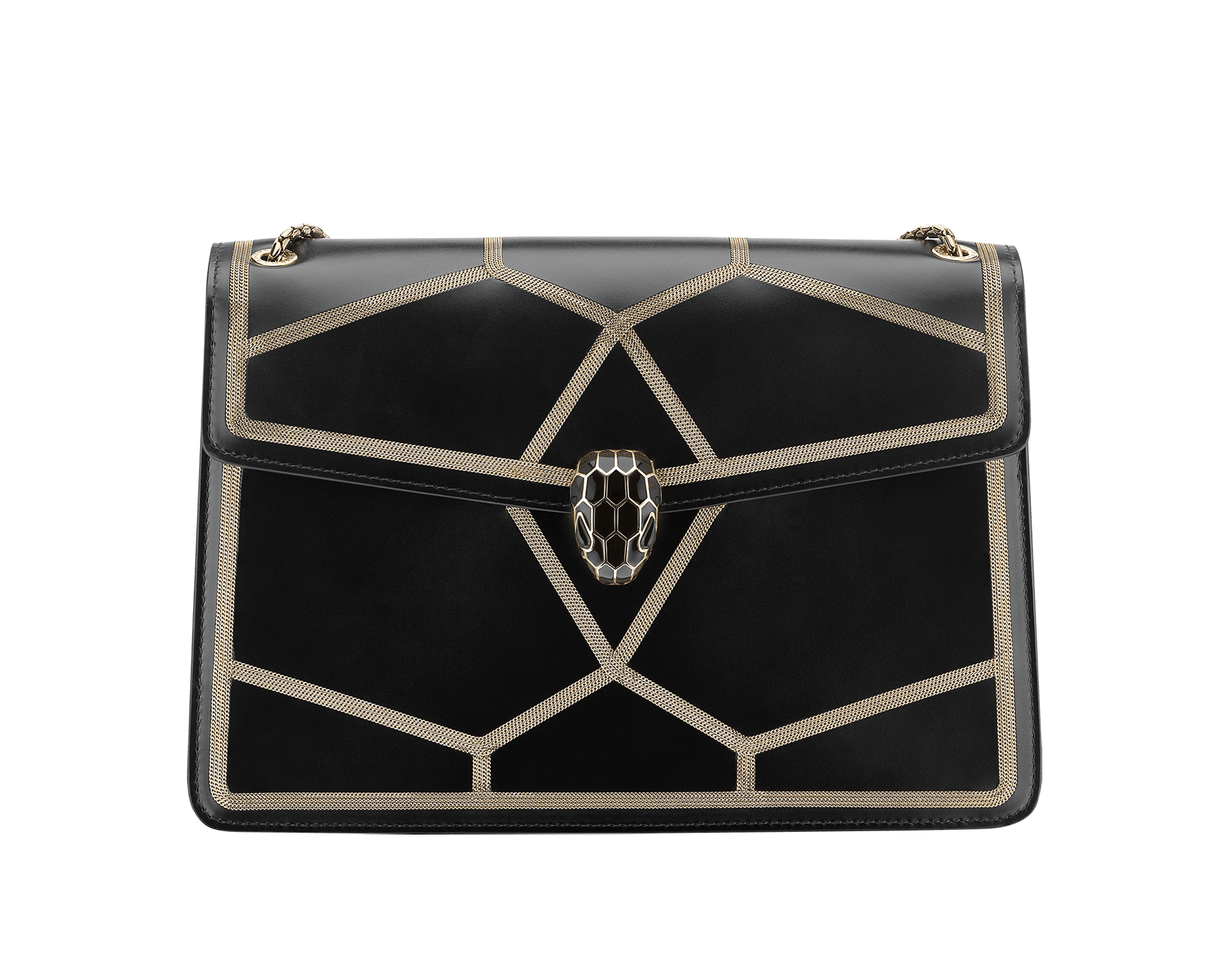 """Serpenti Forever"" shoulder bag in black calf leather and Million Chain frame body and black calf leather sides. Iconic snake head closure in light gold-plated brass enriched with black enamel and black onyx eyes. 521-GCP image 1"