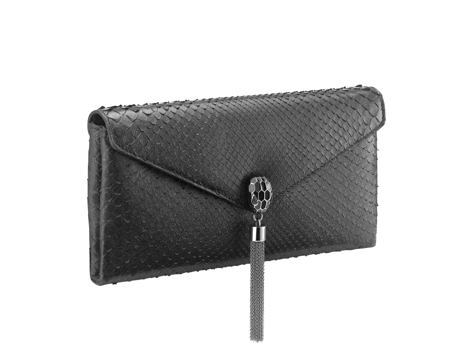 """""""Serpenti"""" evening clutch bag in black Diamond Glam python skin. Iconic snake head stud closure with tassel in dark ruthenium plated brass enriched with black shiny enamel and black onyx eyes. 289041 image 2"""
