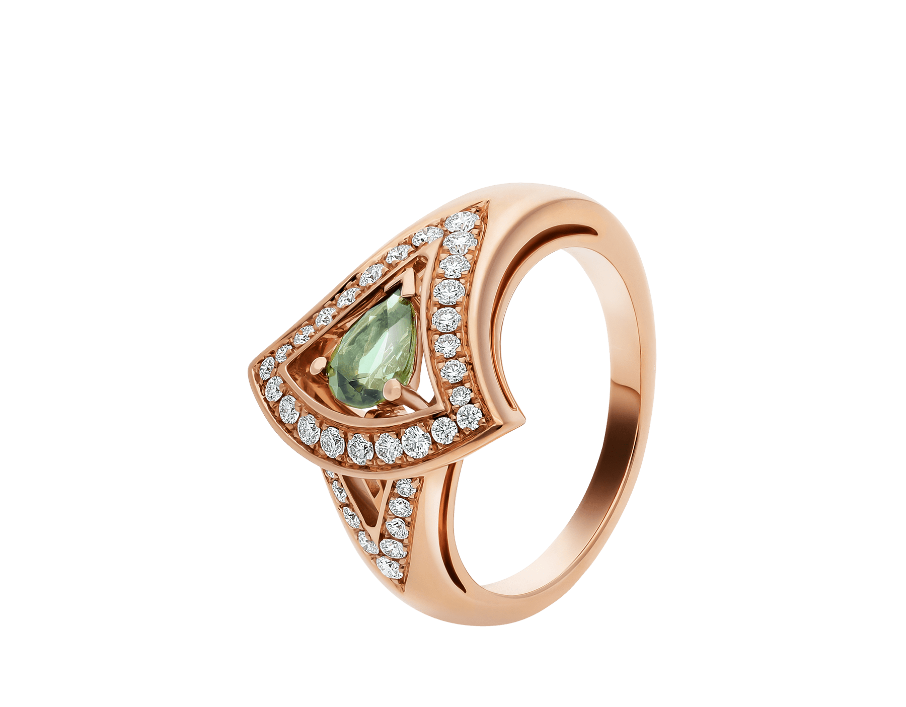 DIVAS' DREAM 18 kt rose gold ring set with a green tourmaline and pavé diamonds AN858508 image 1