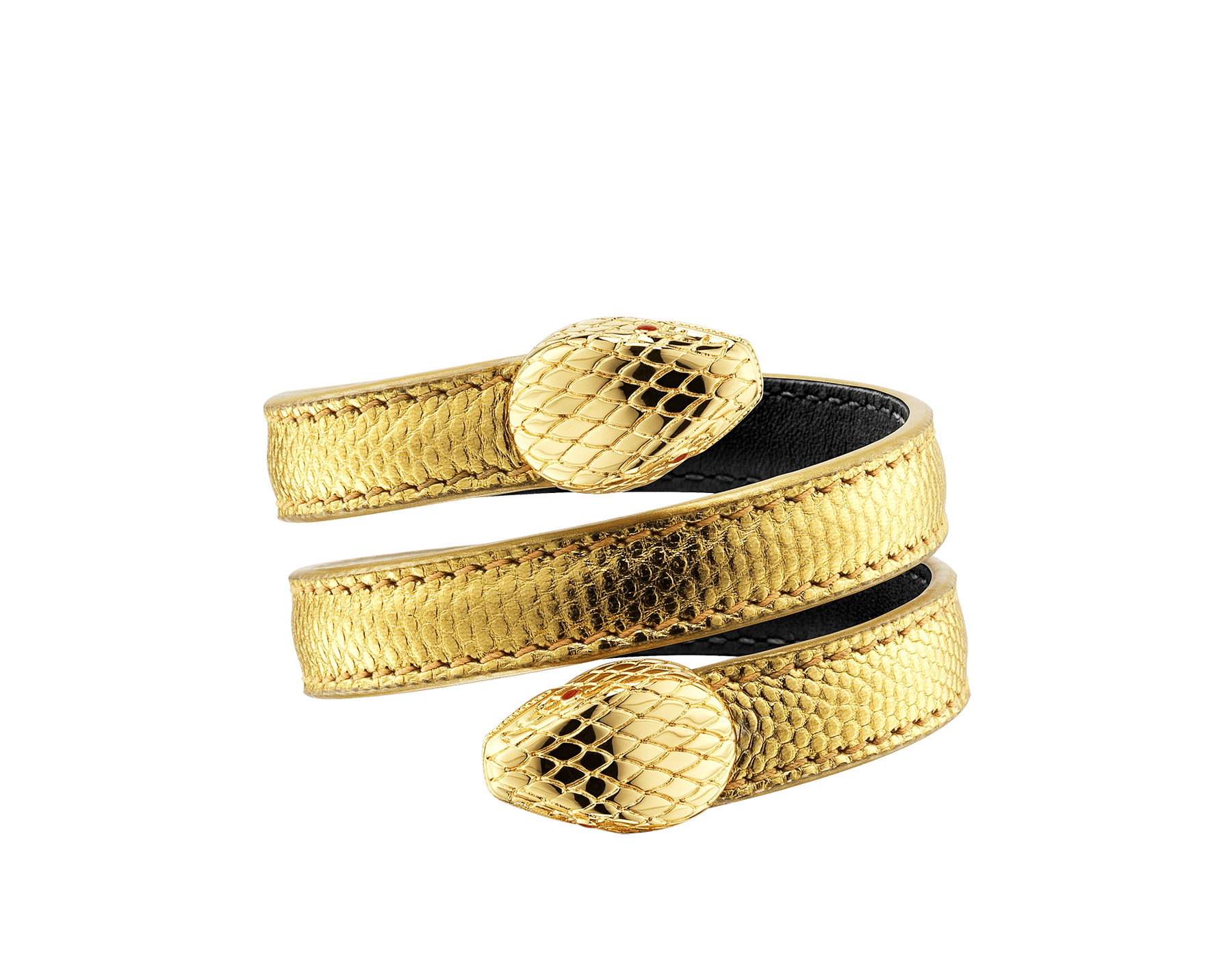 """Serpenti Forever"" multi-coil Cleopatra bangle in ""Molten"" gold karung skin, offering a touch of radiance for the Winter Holidays. New double Serpenti head in gold-plated brass, complete with ruby-red enamel eyes. Cleopatra-MK-G image 3"