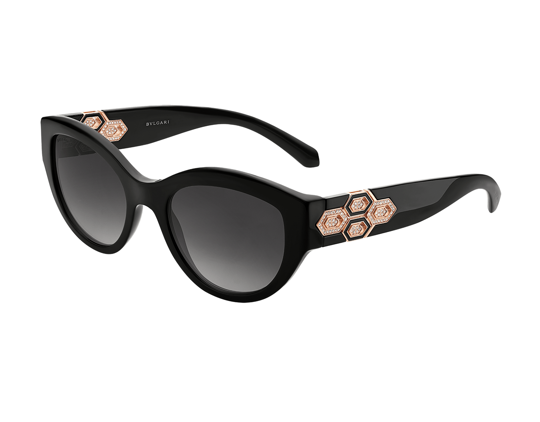 Bvlgari Serpenti cat-eye acetate sunglasses with Serpenti metal décor and crystals. 903848 image 1