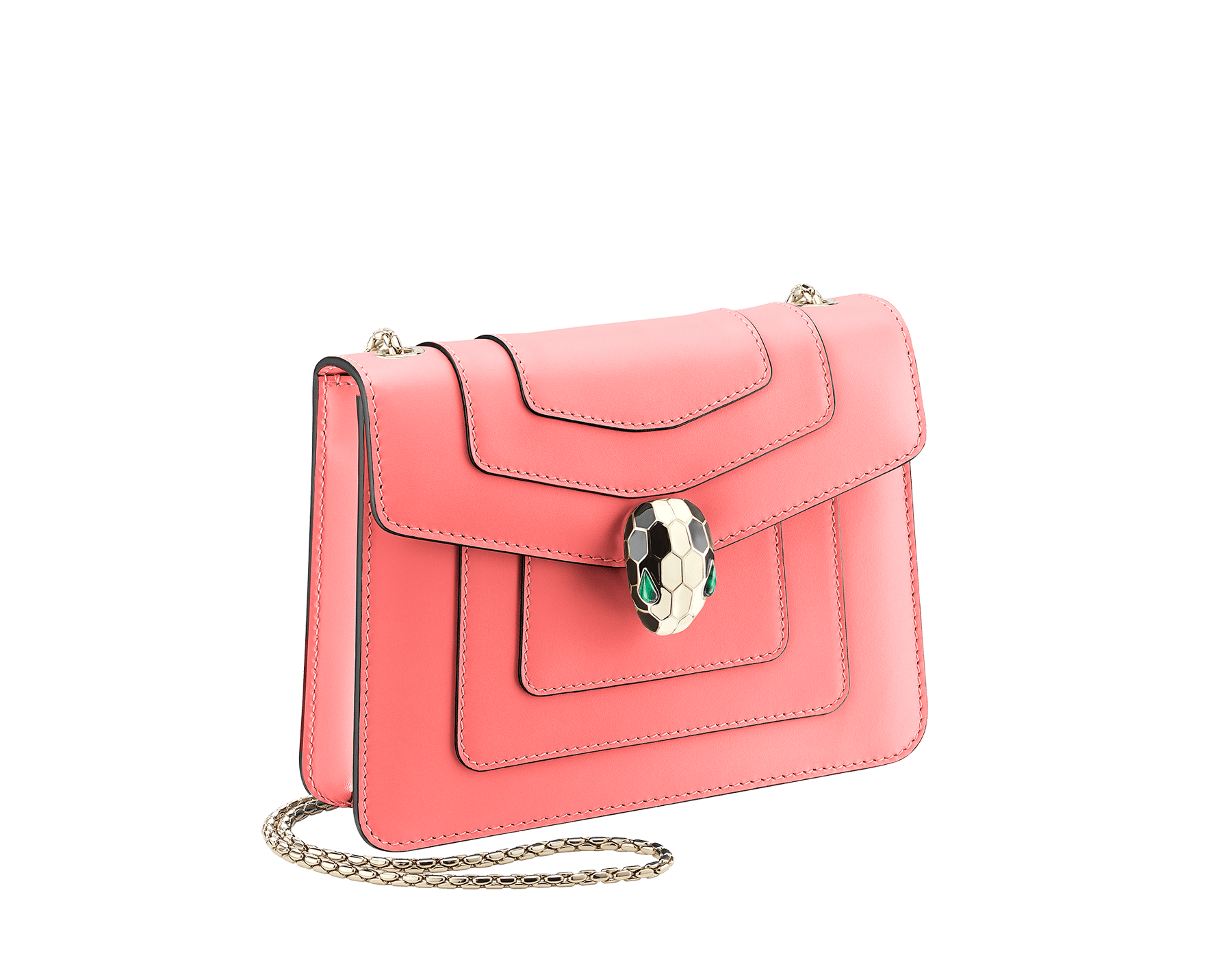 """Serpenti Forever"" crossbody bag in silky coral calf leather. Iconic snakehead closure in light gold plated brass enriched with black and white enamel and green malachite eyes. 288700 image 2"