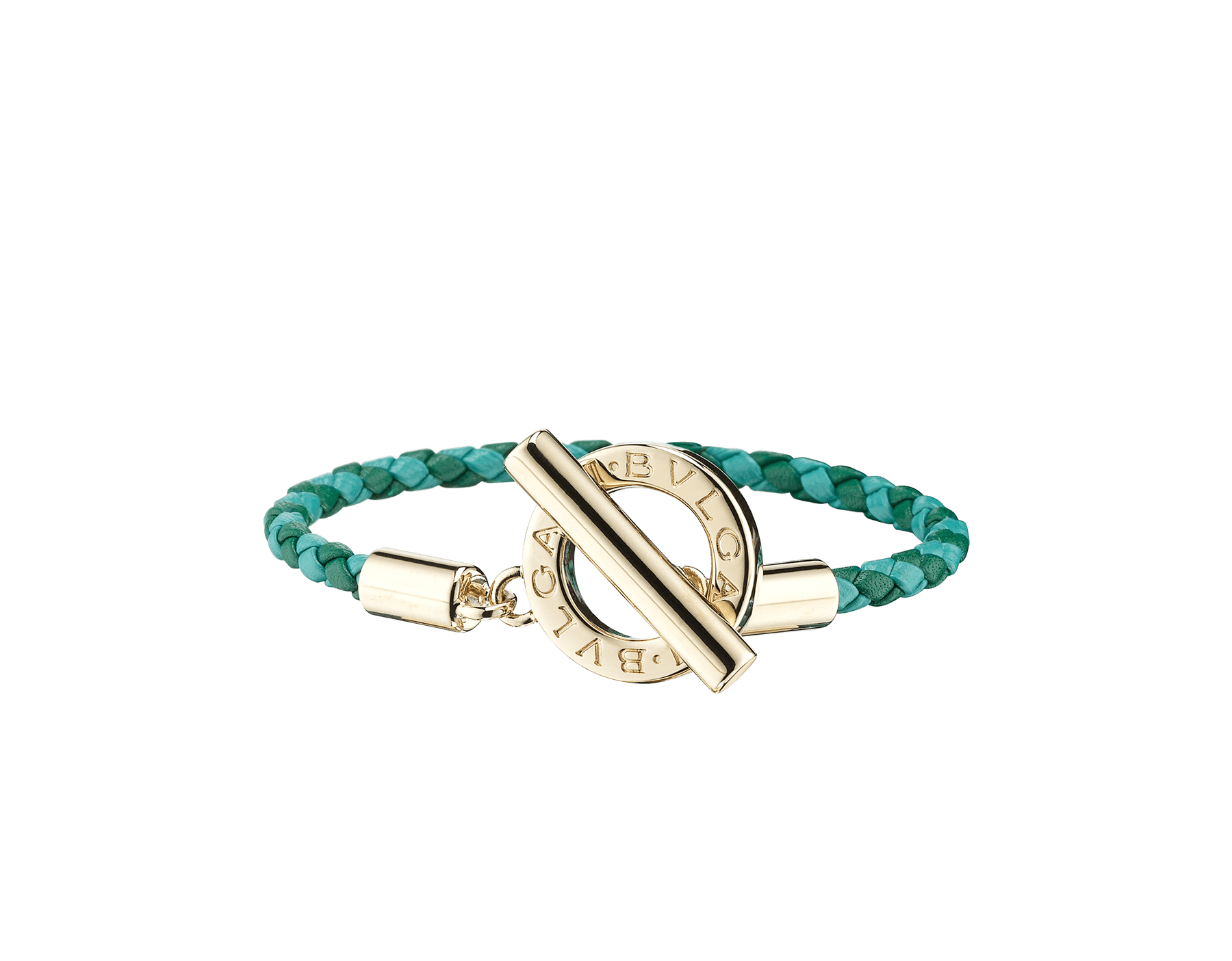 Bvlgari Bvlgari braid bracelet in emerald green and arctic jade woven calf leather with an iconic iconic logo closure in light gold plated brass. 289295 image 1