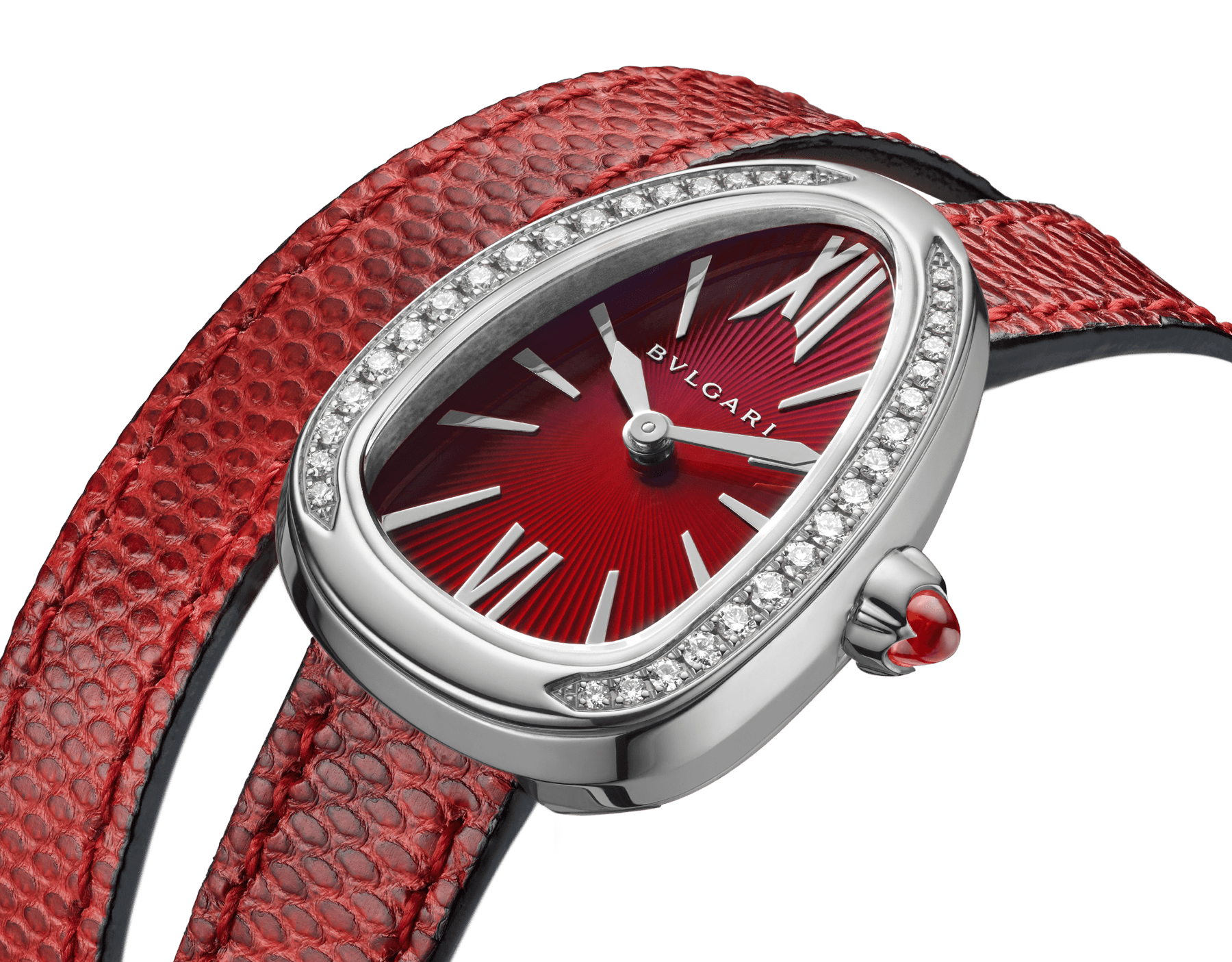 Serpenti watch with stainless steel case set with diamonds, red lacquered dial and interchangeable double spiral bracelet in red karung leather. 102780 image 3