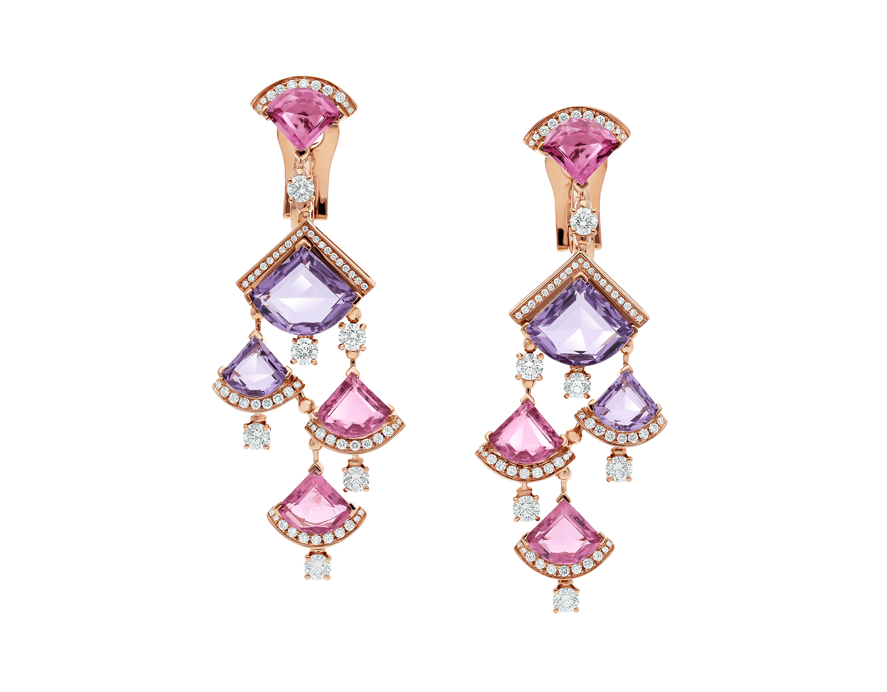 DIVAS' DREAM earrings in 18 kt rose gold, set with pink rubellite, amethyst and pavé diamonds. 354078 image 1