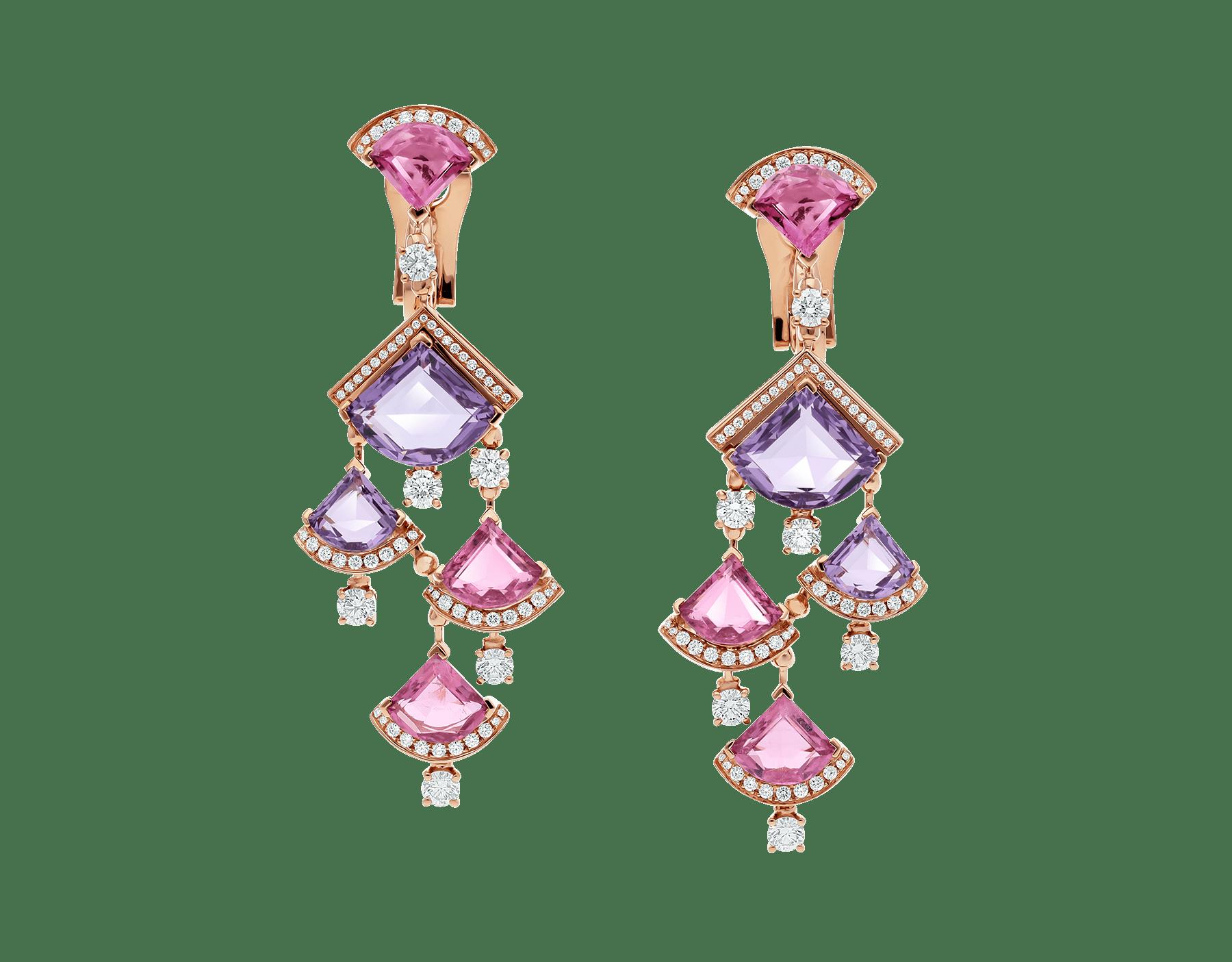 Серьги DIVAS' DREAM, розовое золото 18 карат, розовый рубеллит, аметист, бриллиантовое паве. 354078 image 1
