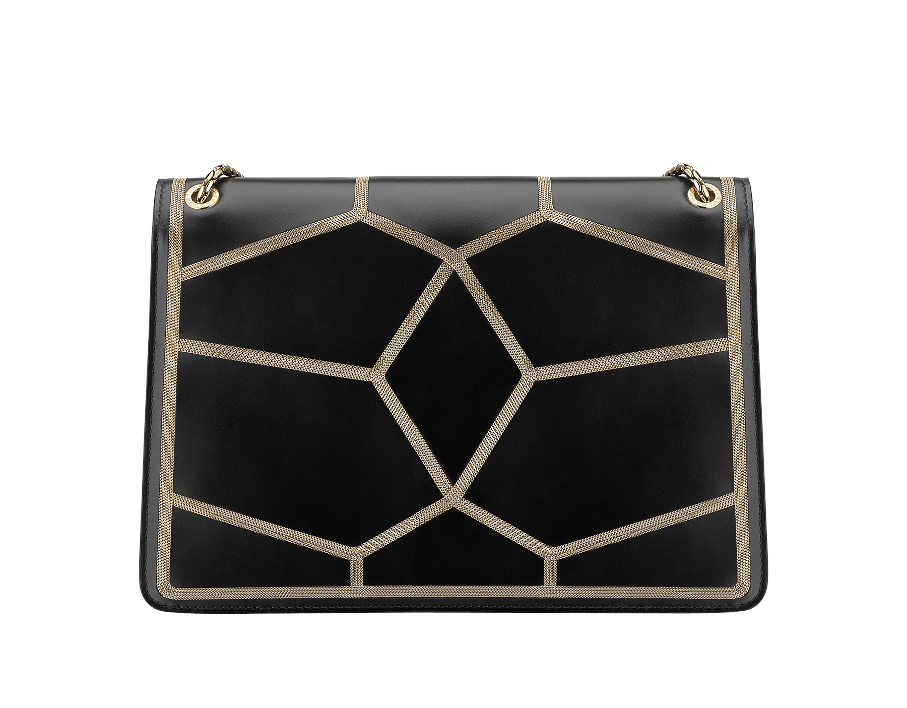 """Serpenti Forever"" shoulder bag in black calf leather and Million Chain frame body and black calf leather sides. Iconic snake head closure in light gold-plated brass enriched with black enamel and black onyx eyes. 521-GCP image 3"