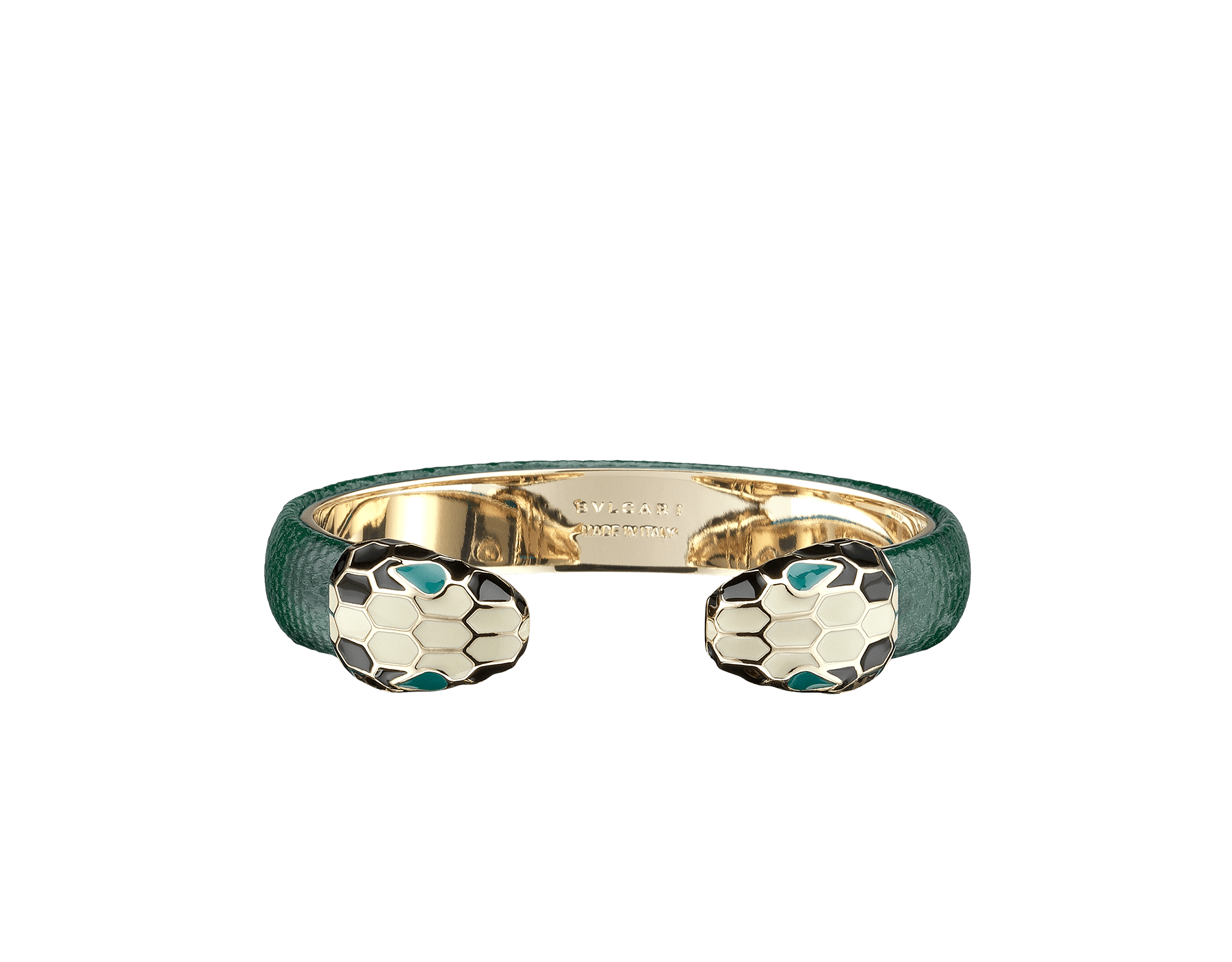 Bracelet in forest emerald shiny karung skin with iconic contraire brass light gold plated Serpenti heads motif in black and white enamel with green enamel eyes. SPContr-SK-FE image 1