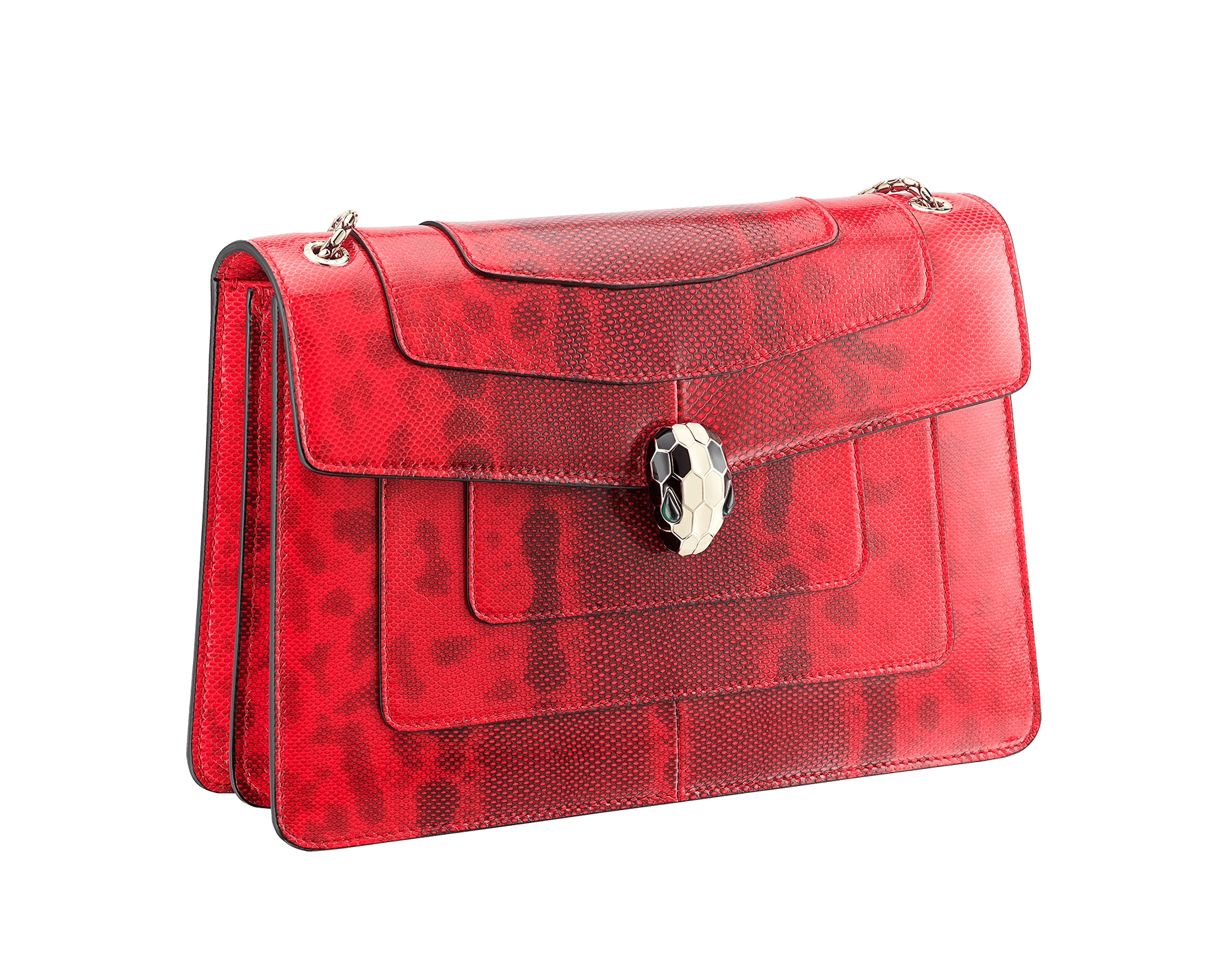 Serpenti Forever shoulder bag in sea star coral shiny karung skin. Snakehead closure in light gold plated brass decorated with black and white enamel, and green malachite eyes. 287918 image 2