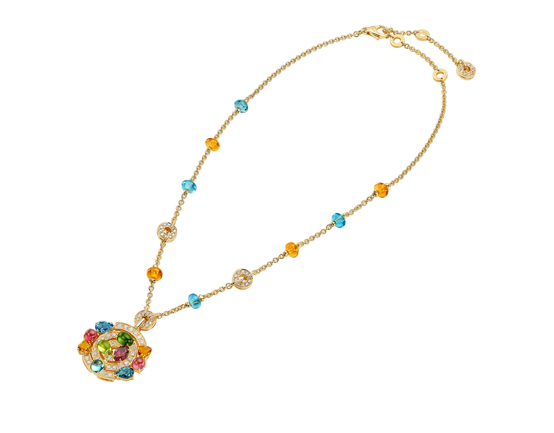 Cerchi 18 kt yellow gold large pendant necklace set with blue topazes, amethysts, green tourmalines, peridots, citrine quartz, rhodolite garnets and pavé diamonds 338229 image 2