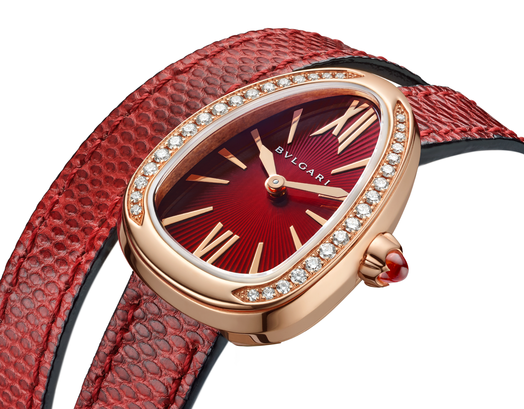 Serpenti watch with 18 kt rose gold case set with brilliant cut diamonds, red lacquered dial and interchangeable double spiral bracelet in red karung leather. 102730 image 3