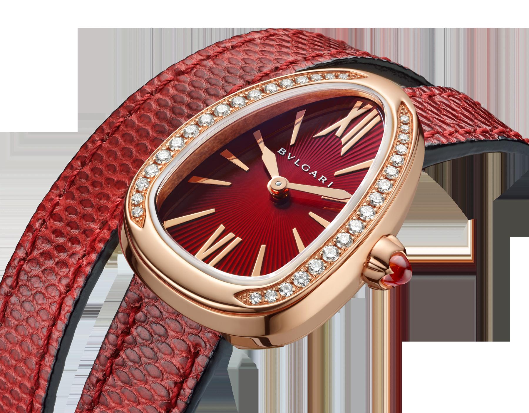 Montre Serpenti avec boîtier en or rose 18K serti de diamants taille brillant, cadran laqué rouge et bracelet double spirale interchangeable en cuir de karung rouge. 102730 image 3
