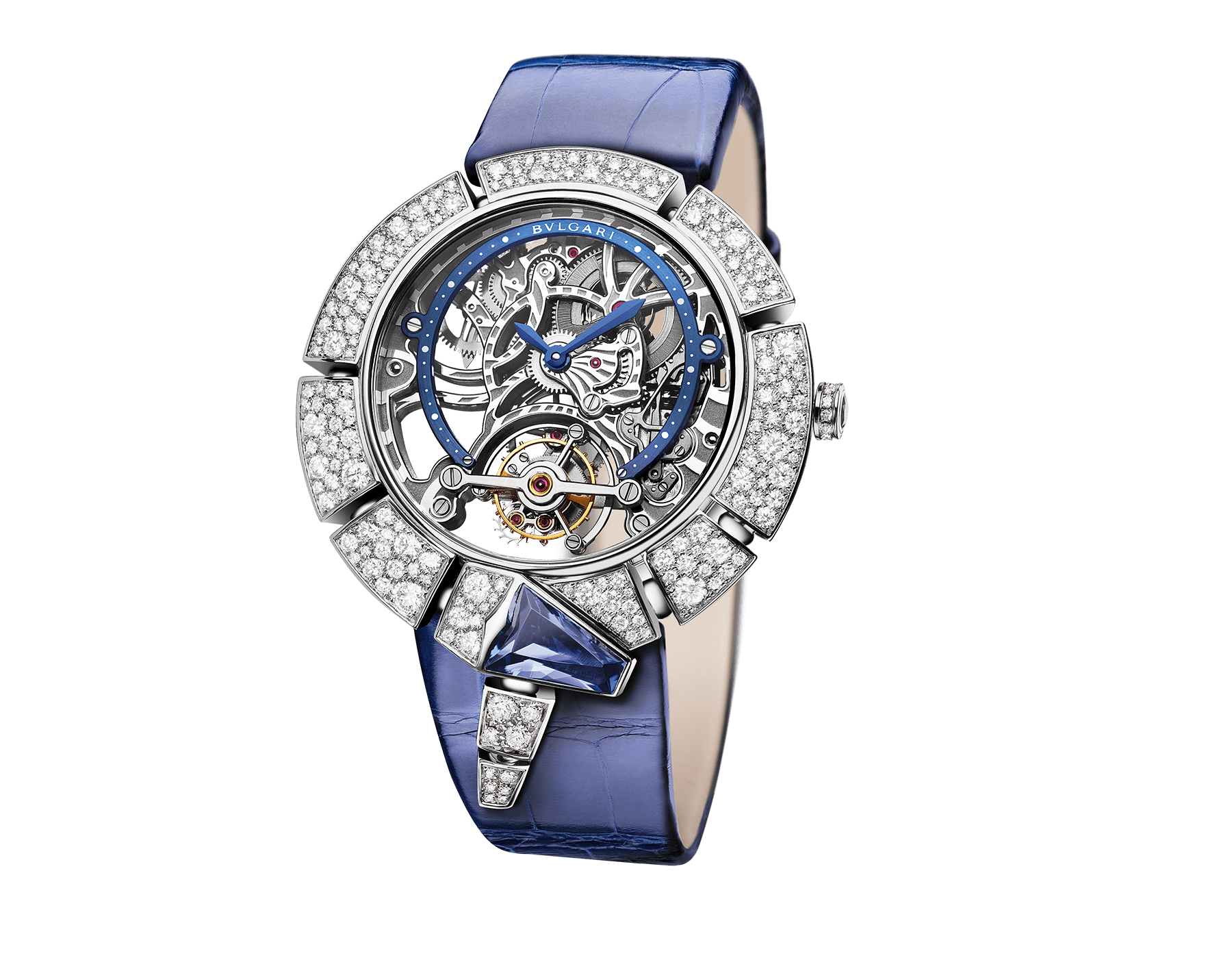 Serpenti Incantati Tourbillon watch with manufacture mechanical skeletonized movement, manual winding, 18 kt white gold case set with brilliant cut diamonds and a tanzanite, transparent dial and blue alligator bracelet. 102723 image 2