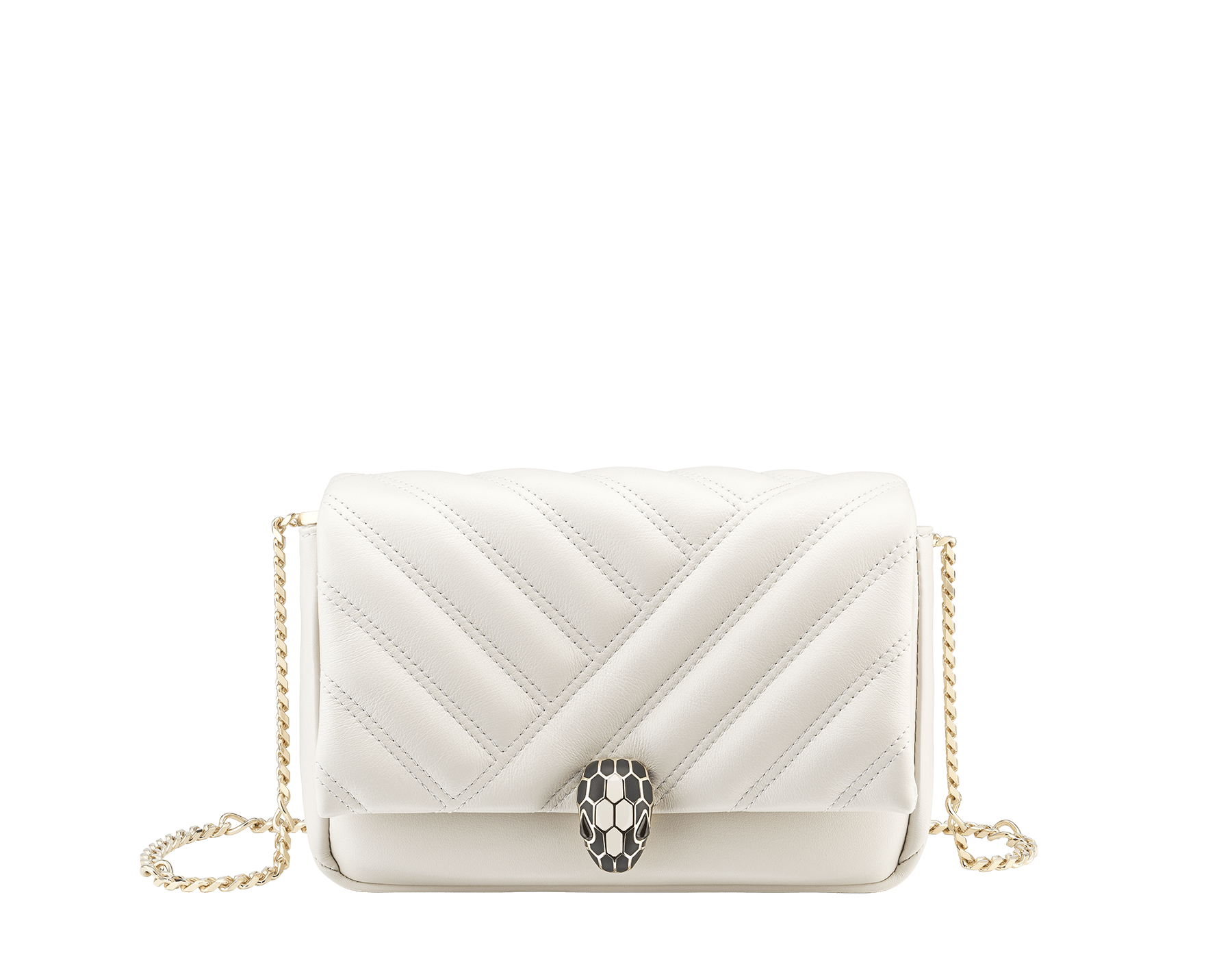 Serpenti Cabochon micro bag in soft matelassé white agate calf leather, with a graphic motif. Brass light gold plated tempting snake head closure in black and white agate enamel and black onyx eyes. 288760 image 1