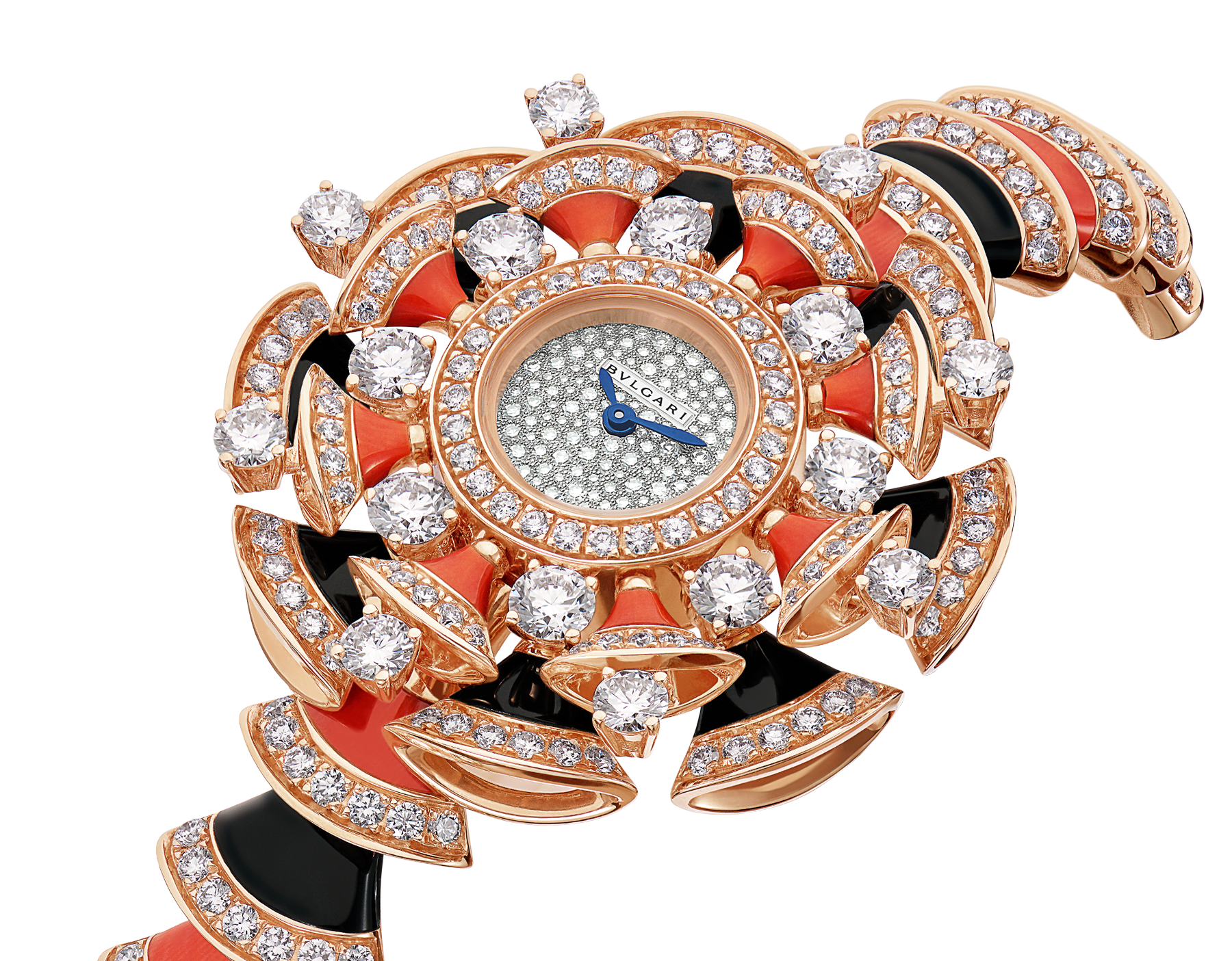 DIVAS' DREAM watch in 18 kt rose gold case and bracelet, both set with brilliant-cut diamonds, onyx and coral rubrum elements, with snow pavé dial 102422 image 2