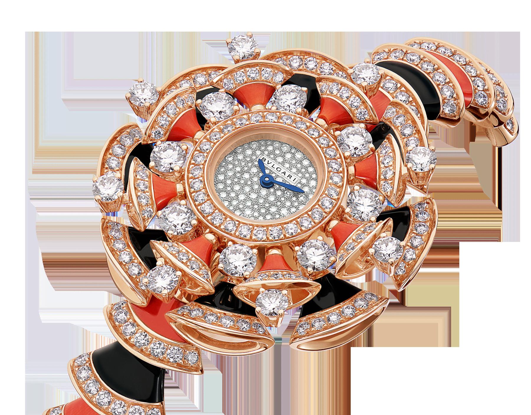 DIVAS' DREAM Uhr mit Gehäuse und Armband aus 18 Karat Roségold, beide mit Diamanten im Brillantschliff, Elementen aus Onyx und roter Koralle, mit Zifferblatt in Neige Pavé-Technik 102422 image 2