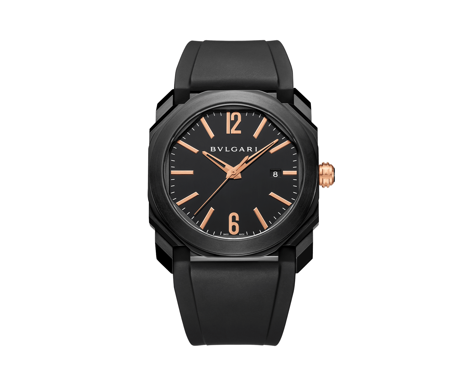 Octo watch with mechanical manufacture movement, automatic winding and date, stainless steel case treated with black Diamond Like Carbon, black lacquered dial and black rubber bracelet. 102581 image 1