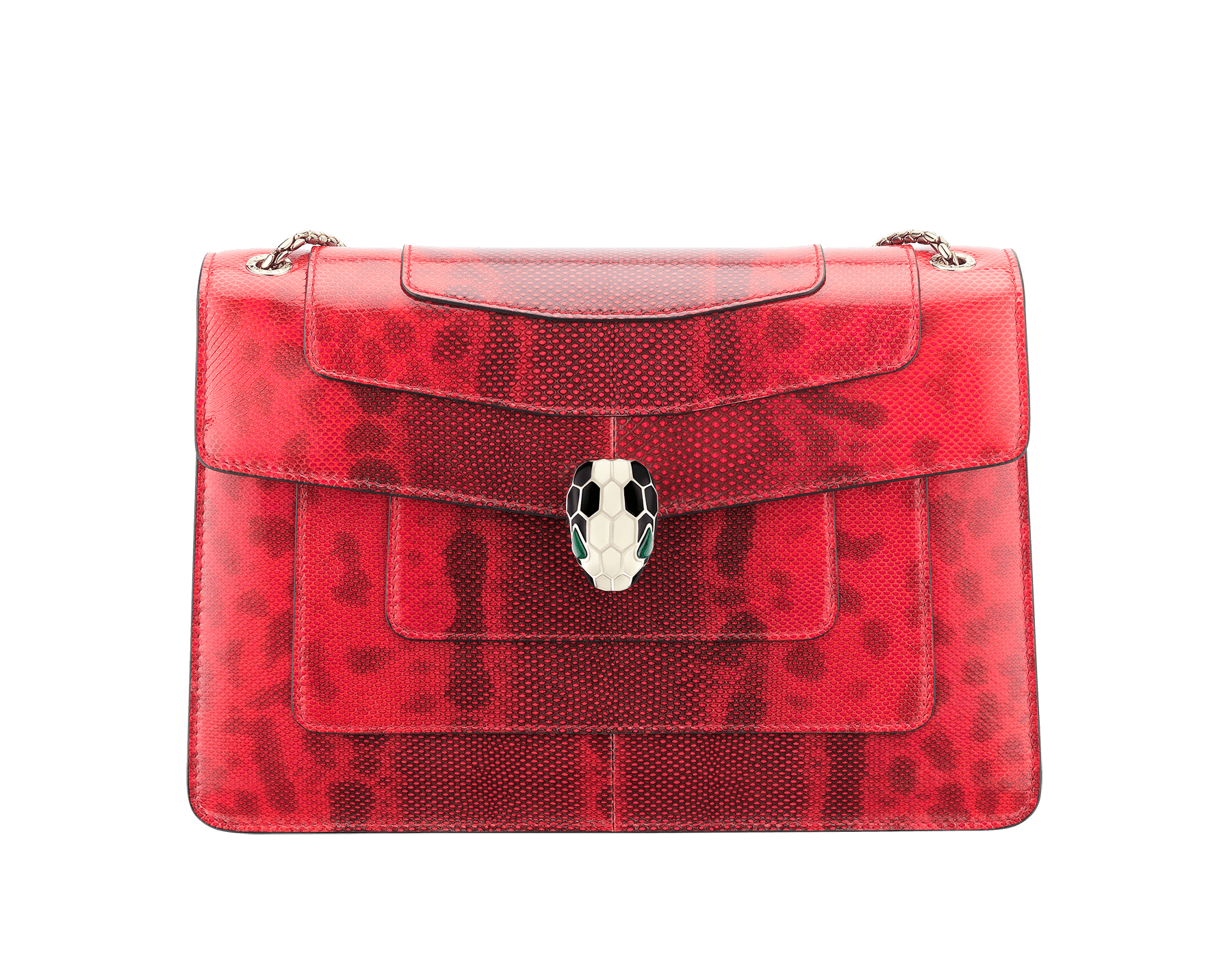 Serpenti Forever shoulder bag in sea star coral shiny karung skin. Snakehead closure in light gold plated brass decorated with black and white enamel, and green malachite eyes. 287918 image 1
