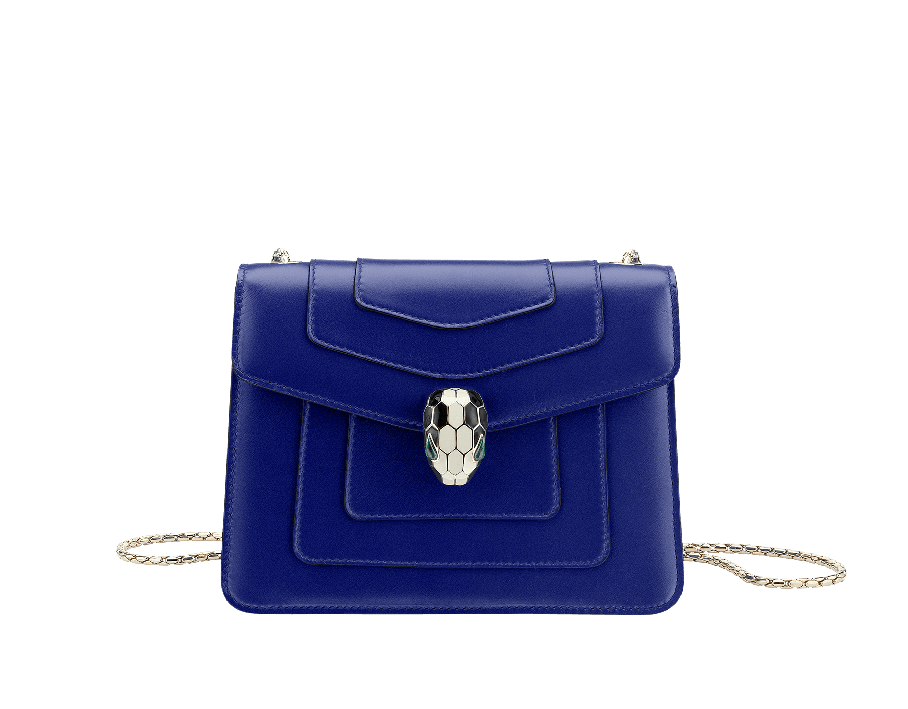 Flap cover bag Serpenti Forever in royal sapphire calf leather. Brass light gold plated snake head closure in black and white enamel with eyes in green malachite. 281225 image 1