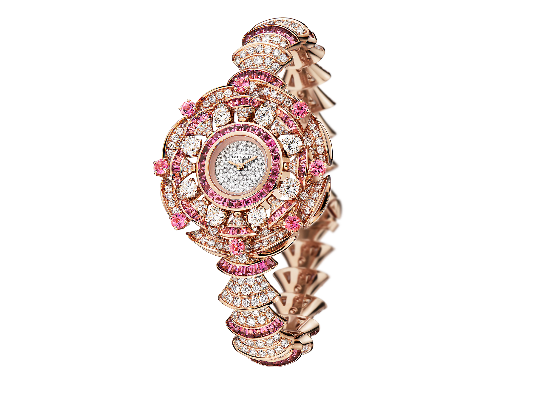 DIVAS' DREAM watch with 18 kt rose gold case set with brilliant-cut diamonds and rubellites, and buff-cut rubellites, snow pavé dial and 18 kt rose gold bracelet set with brilliant-cut diamonds and buff-cut rubellites 102562 image 1
