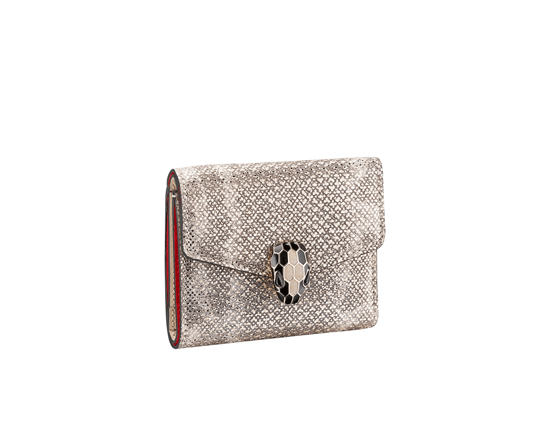 Serpenti Forever slim compact wallet in milky opal karung skin and milky opal calf leather. Iconic snakehead stud closure in black and glitter milky opal enamel, with black onyx eyes 289205 image 1