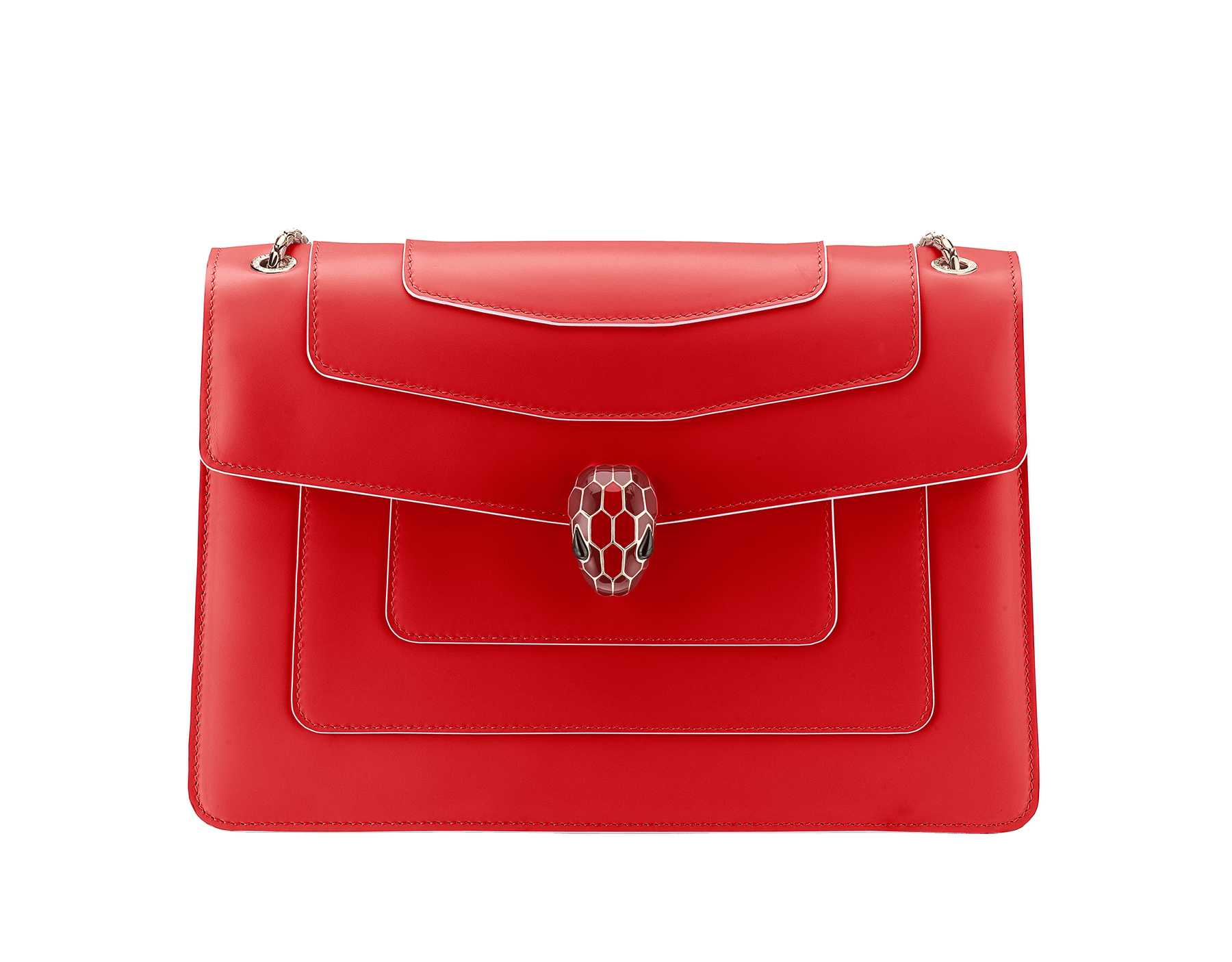 """Serpenti Forever"" shoulder bag in white agate calf leather body and ruby red calf leather sides. Iconic snakehead closure in light gold plated brass enriched with ruby red and white agate enamel and black onyx eyes. 521-BCL image 1"