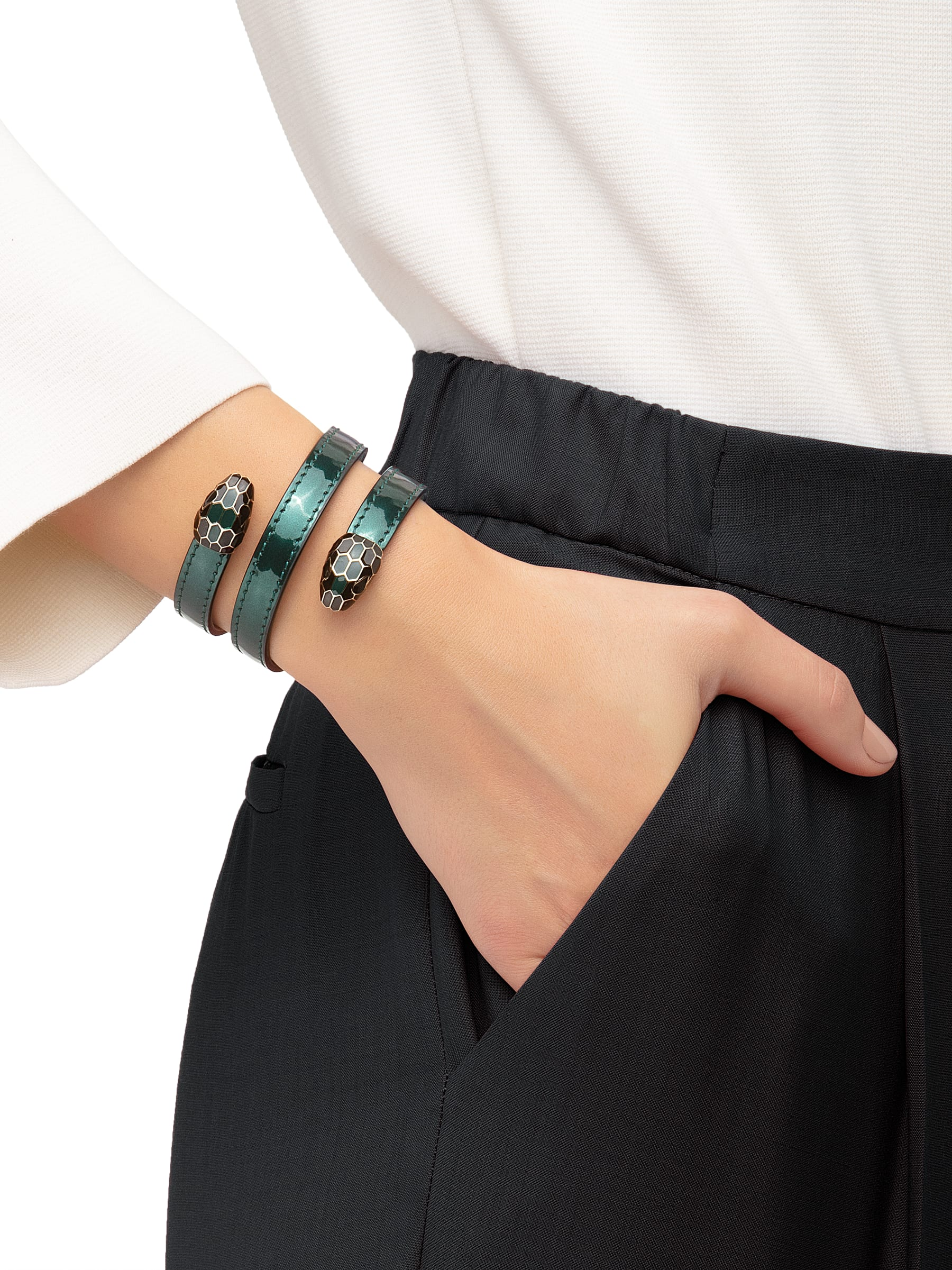 Multi-coiled rigid Cleopatra bracelet in forest emerald brushed metallic calf leather with brass light gold plated hardware. Double tempting Serpenti head finished in black and forest emerald enamel. Cleopatra-BMCL-FE image 2