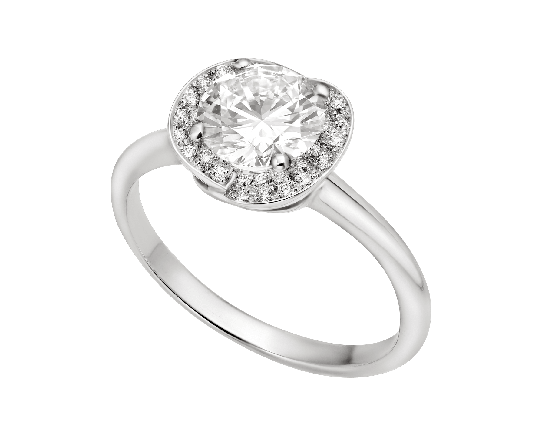 Incontro d'Amore platinum ring set with a round brilliant-cut diamond and a halo of pavé diamonds. 355436 image 2