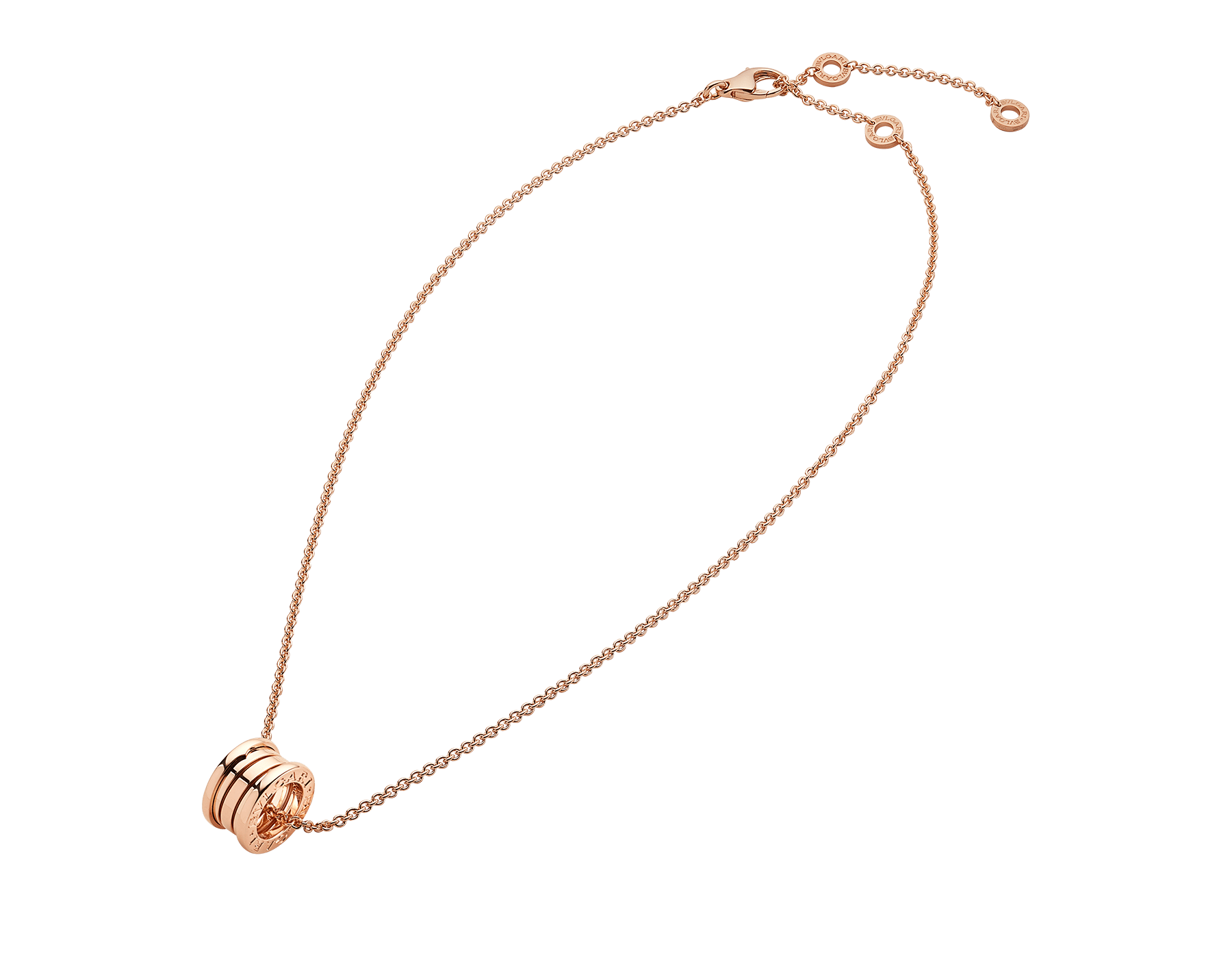 B.zero1 necklace with chain and small round pendant in 18kt rose gold. 335924 image 2