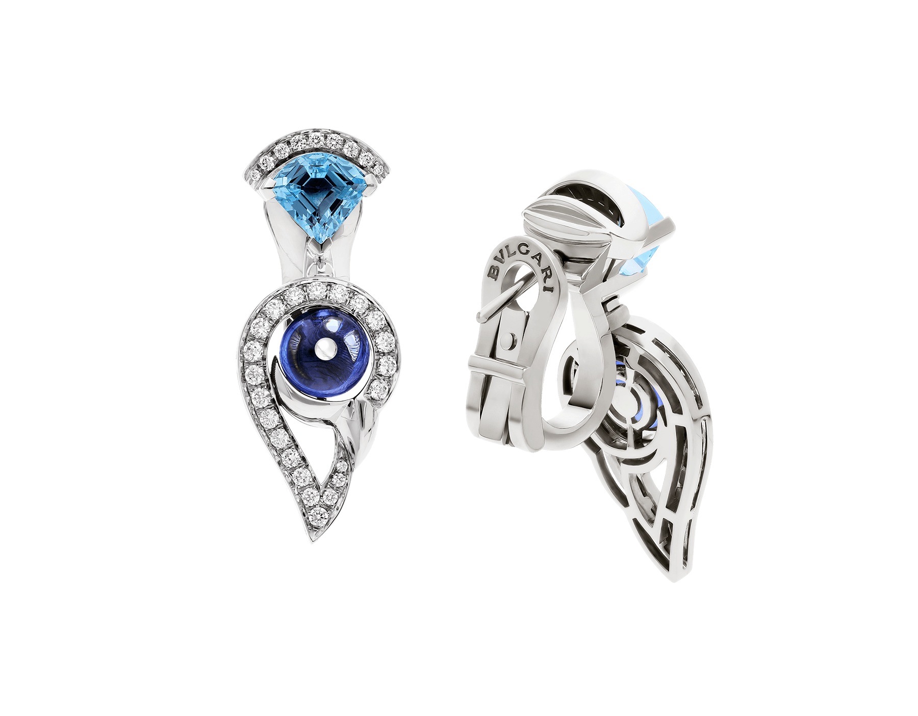DIVAS' DREAM 18 kt white gold earrings set with coloured gemstones and pavé diamonds 355628 image 3