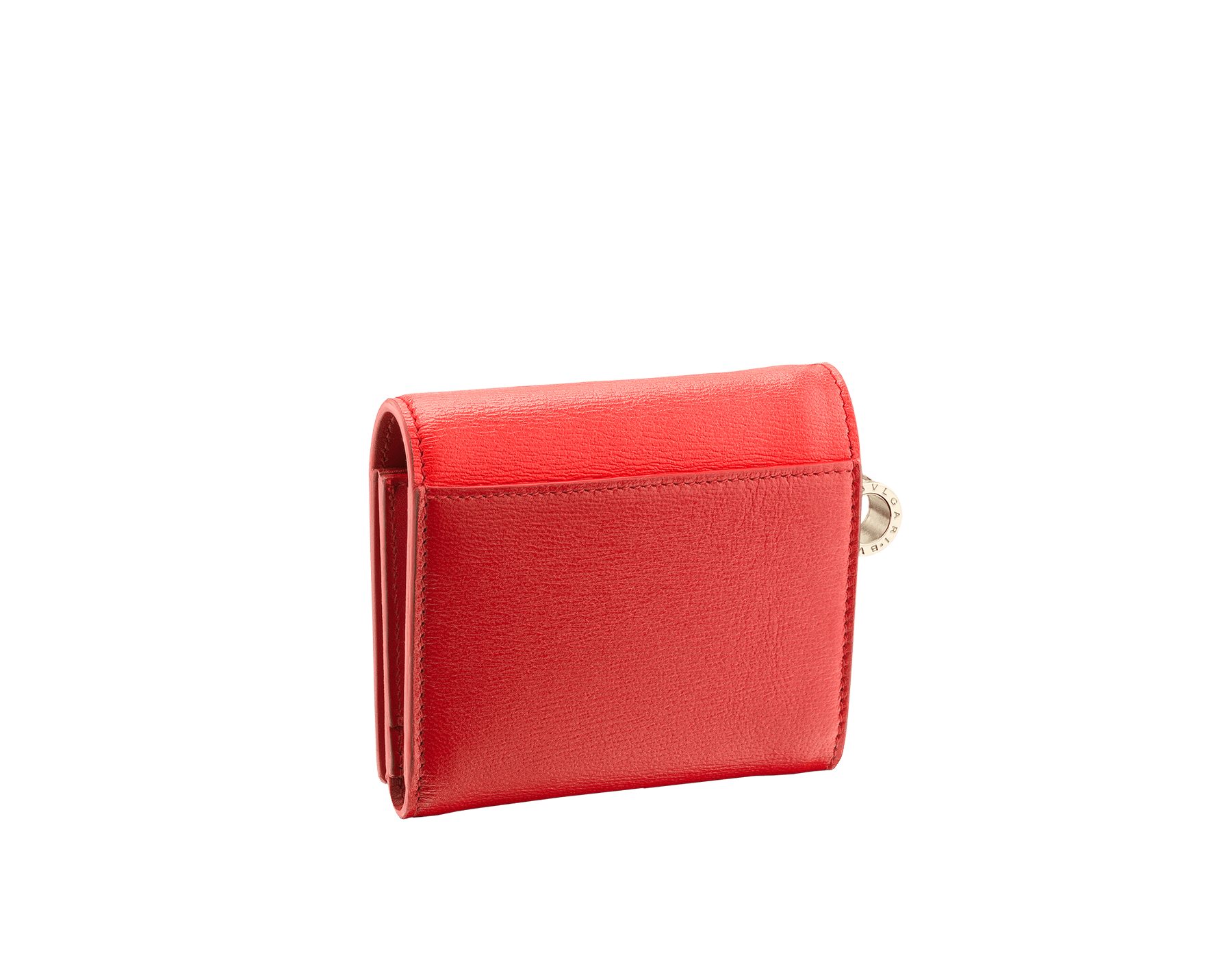 B.zero1 open credit card holder in sea star coral and carmine jasper goatskin. Iconic B.zero1 charm in light gold-plated brass. 288241 image 3