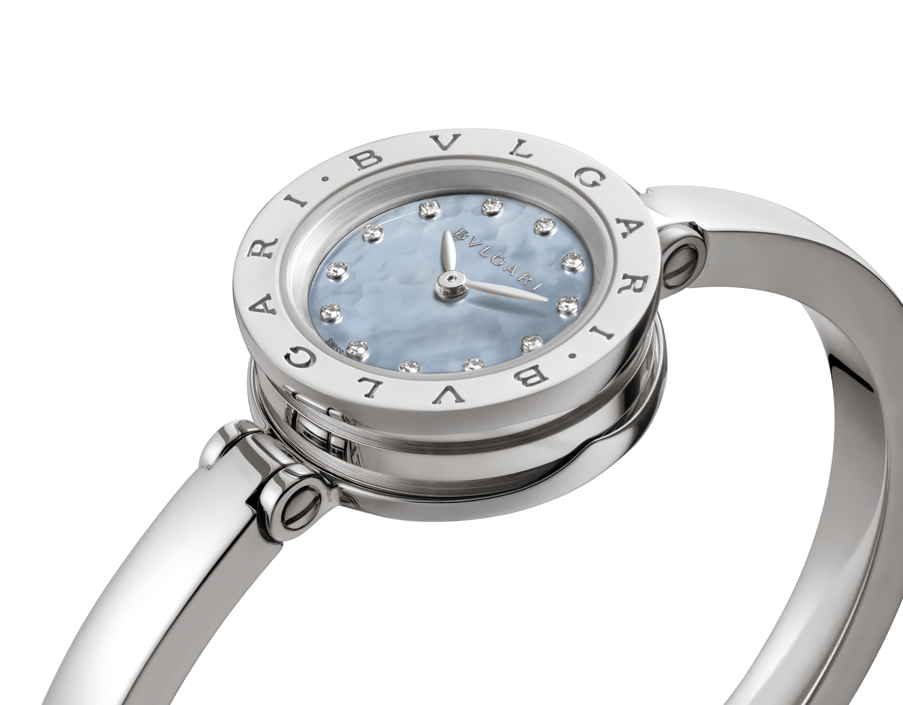B.zero1 watch with stainless steel case, blue mother-of-pearl dial set with diamond indexes and stainless steel bangle. Medium size. B01watch-white-white-dial2 image 6