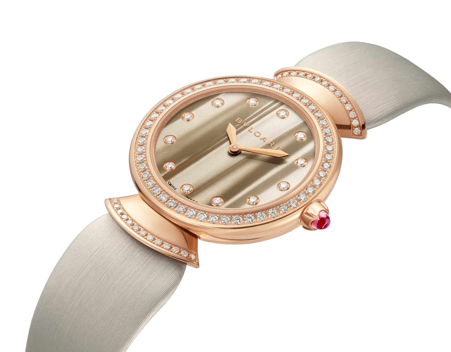 Montre DIVAS' DREAM avec boîtier en or rose 18 K serti de diamants taille brillant, cadran en acétate naturel, index sertis de diamants et bracelet en satin couleur bronze 102435 image 2