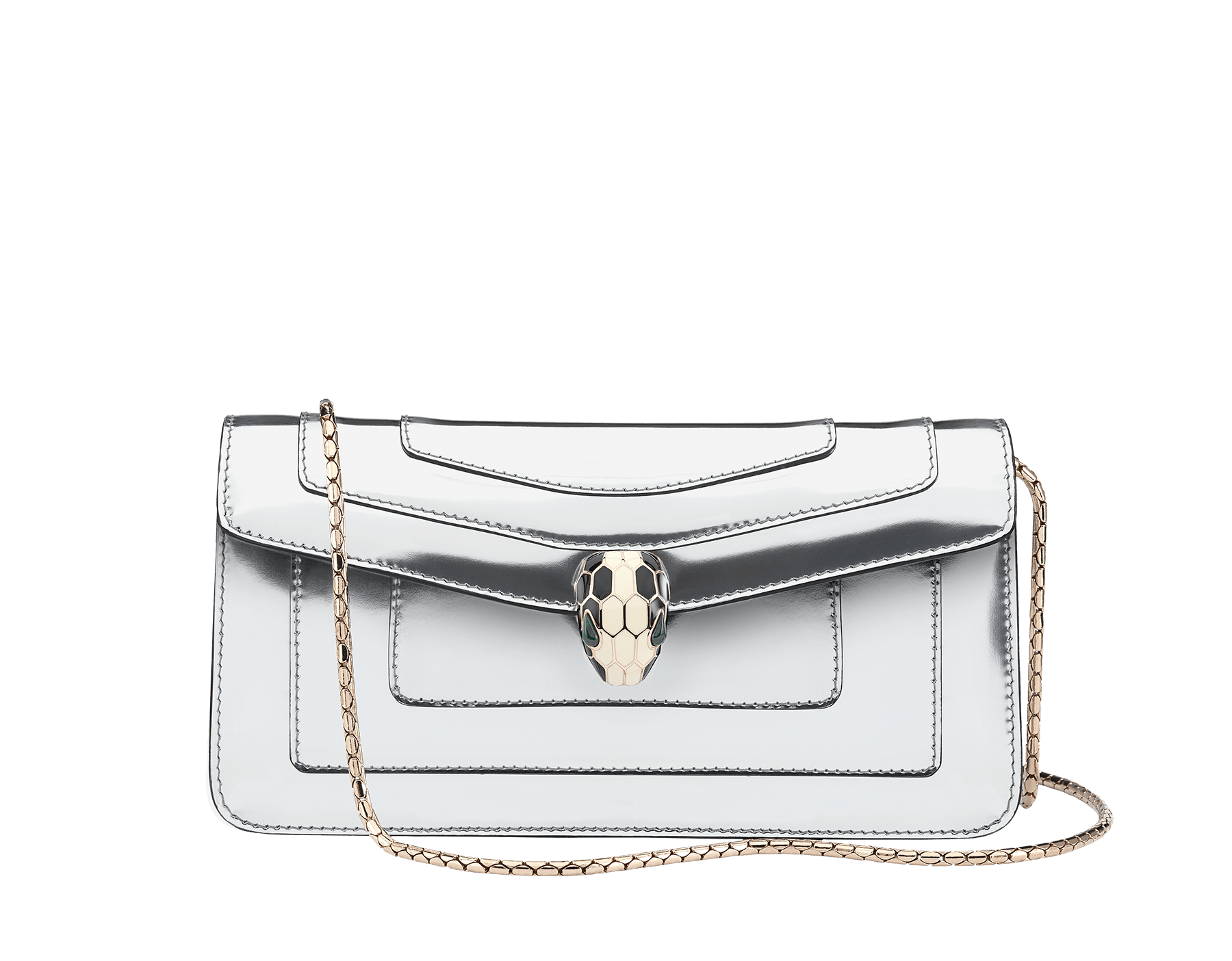 Shoulder bag Serpenti Forever in black calf leather with brass light gold plated Serpenti head closure in black and white enamel with eyes in malachite. 280026 image 1