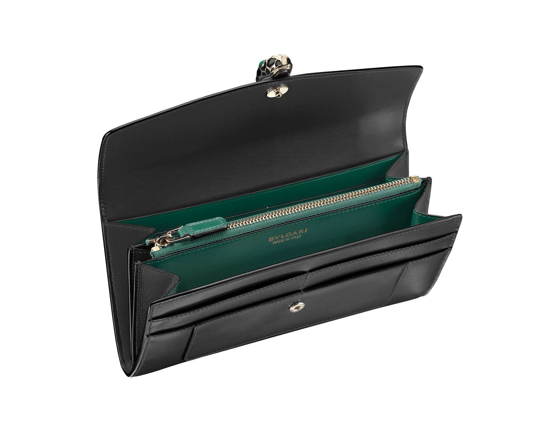 Wallet pochette in black and emerald green calf leather with brass light gold plated hardware.Serpenti head stud closure in black and white enamel with eyes in green malachite. 280353 image 2