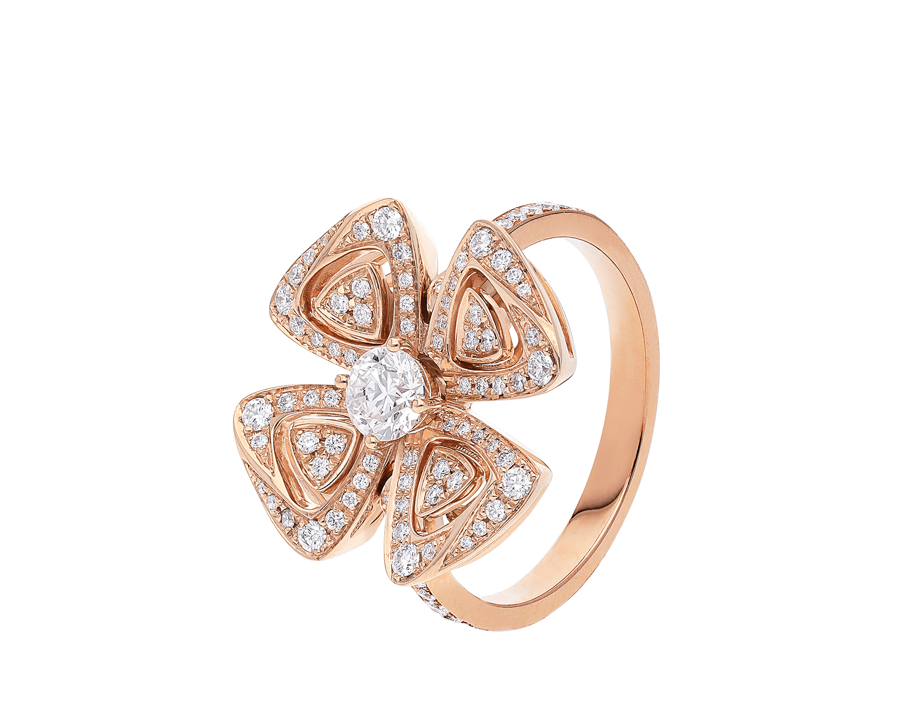 Fiorever 18 kt rose gold ring set with a central diamond and pavé diamonds. AN858504 image 1