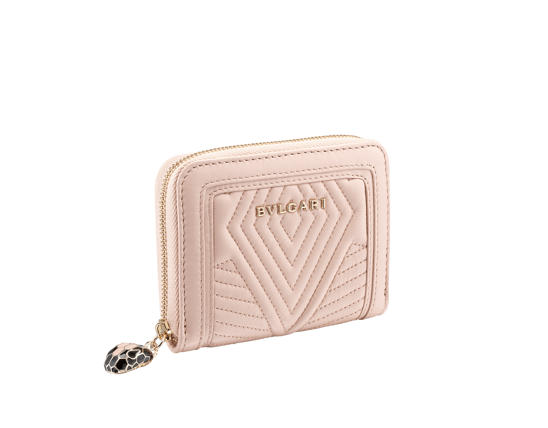 Serpenti Diamond Blast mini zipped wallet in crystal rose quilted nappa leather. Iconic snakehead zip puller in black and white enamel, with black enamel eyes 287589 image 1