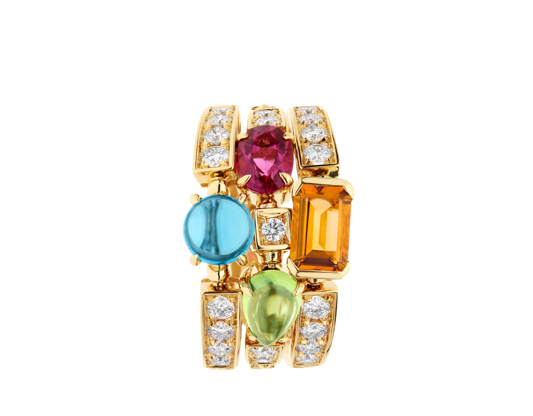 Colore three-band 18 kt yellow gold ring set with pink tourmaline, peridot, citrine quartz, blue topaz and pavé diamonds AN852171 image 2