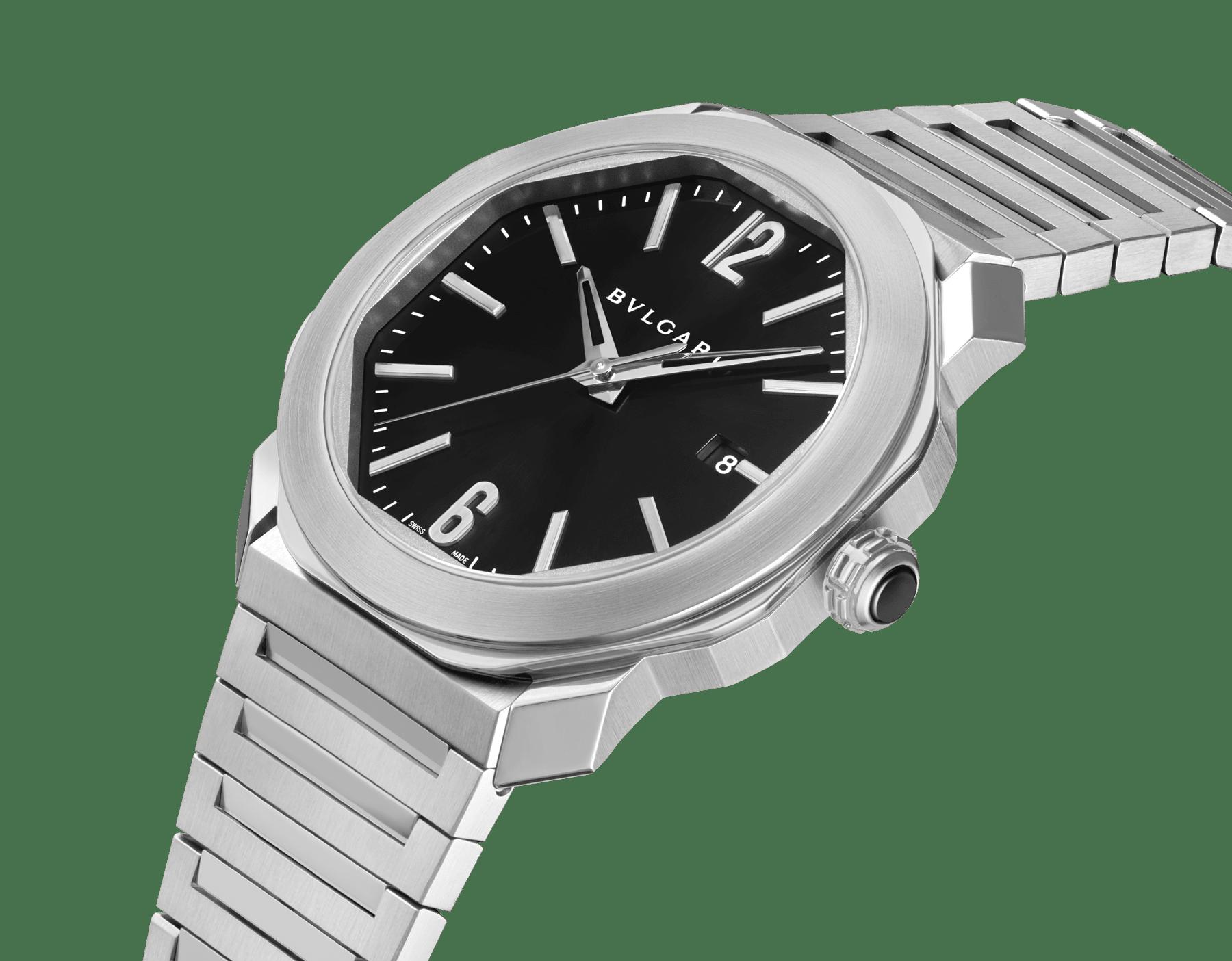 Montre Octo Roma avec mouvement mécanique de manufacture, remontage automatique, boîtier et bracelet en acier inoxydable, cadran laquénoir. 102704 image 2