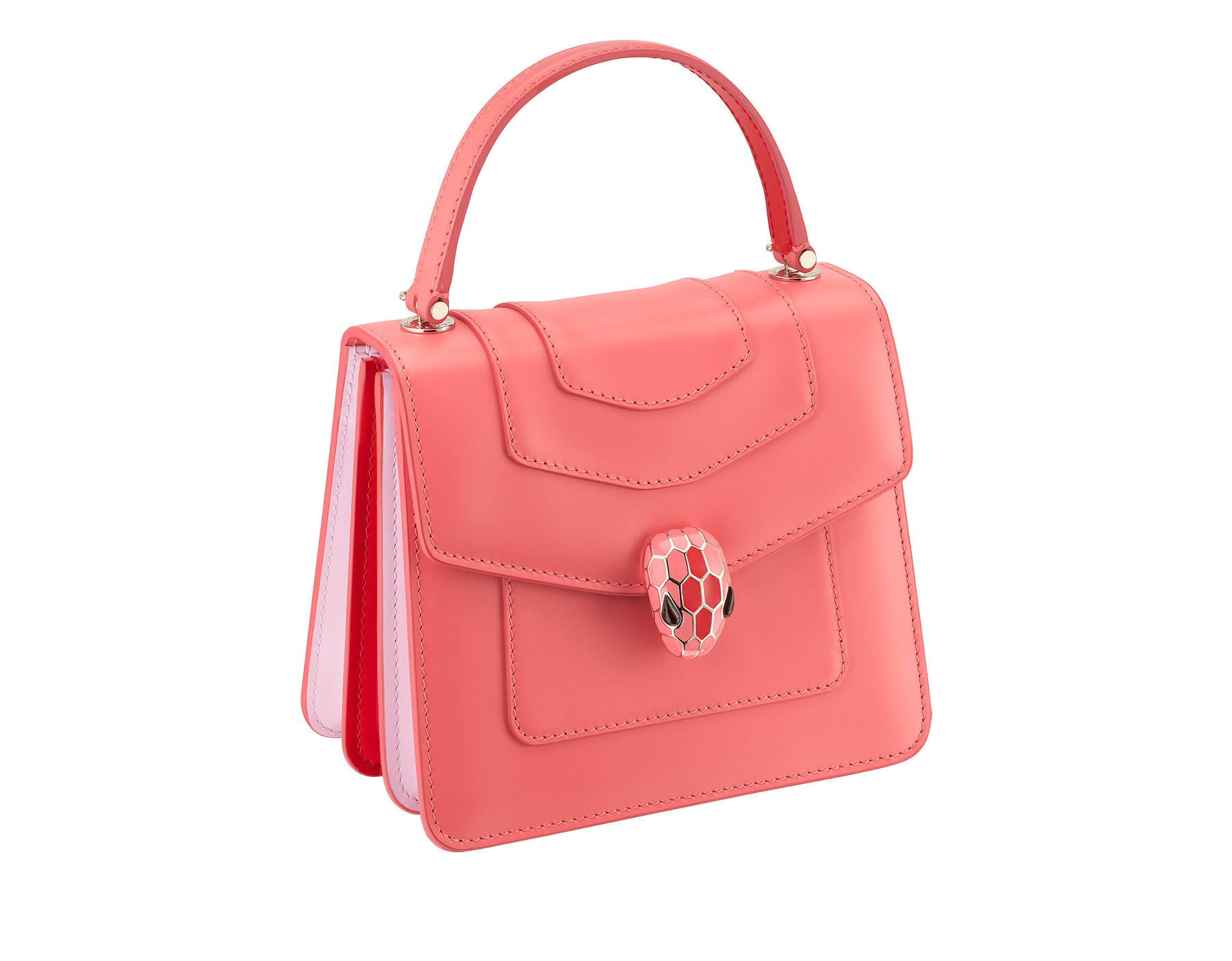 """Serpenti Forever "" crossbody bag with a silky coral calf leather body and rosa di francia and starfish calf leather sides. Iconic snakehead closure in light gold plated brass enriched with silky coral and starfish enamel and black onyx eyes. 288774 image 2"