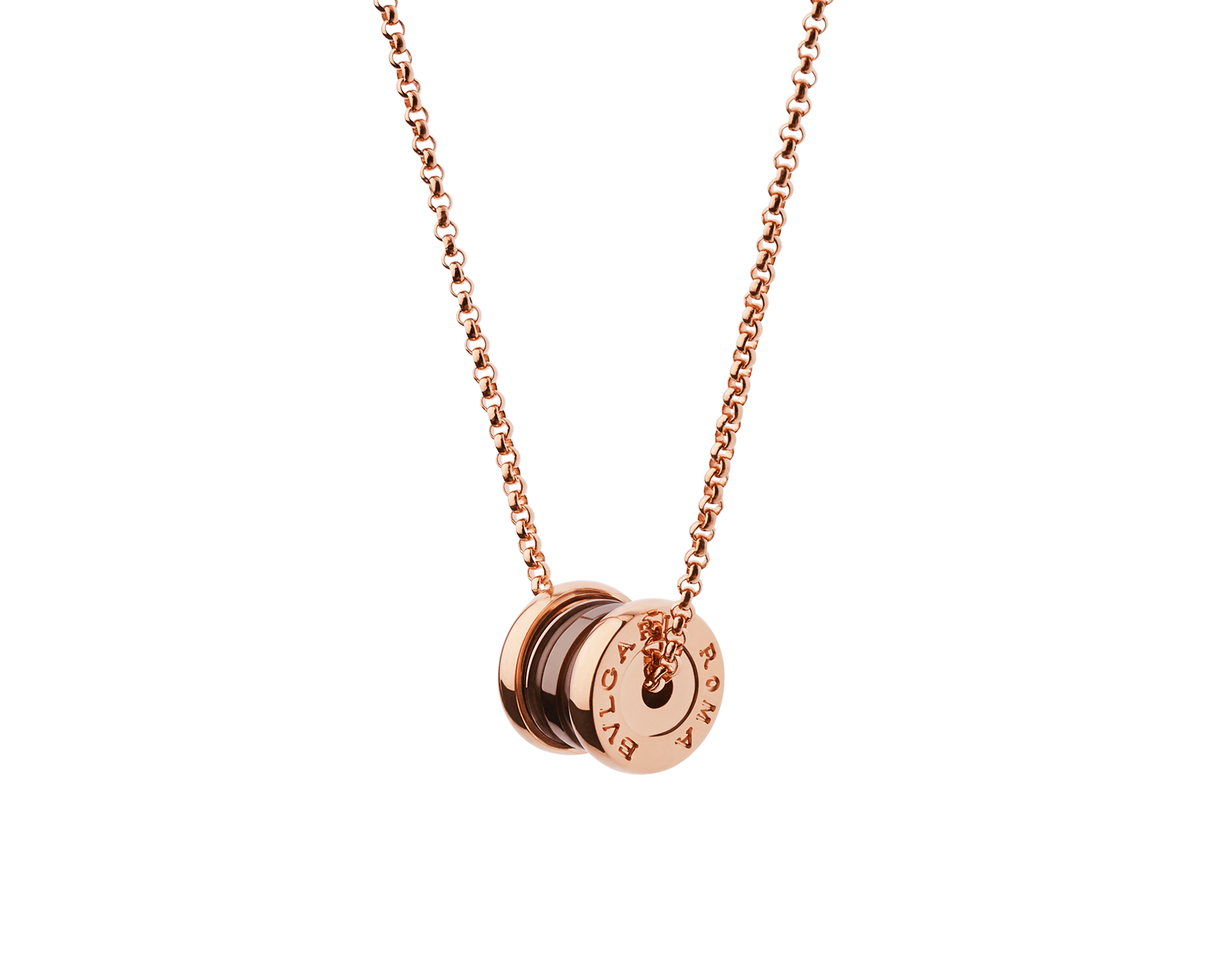 B.zero1 necklace with 18 kt rose gold chain and pendant in 18 kt rose gold and cermet. 358379 image 1