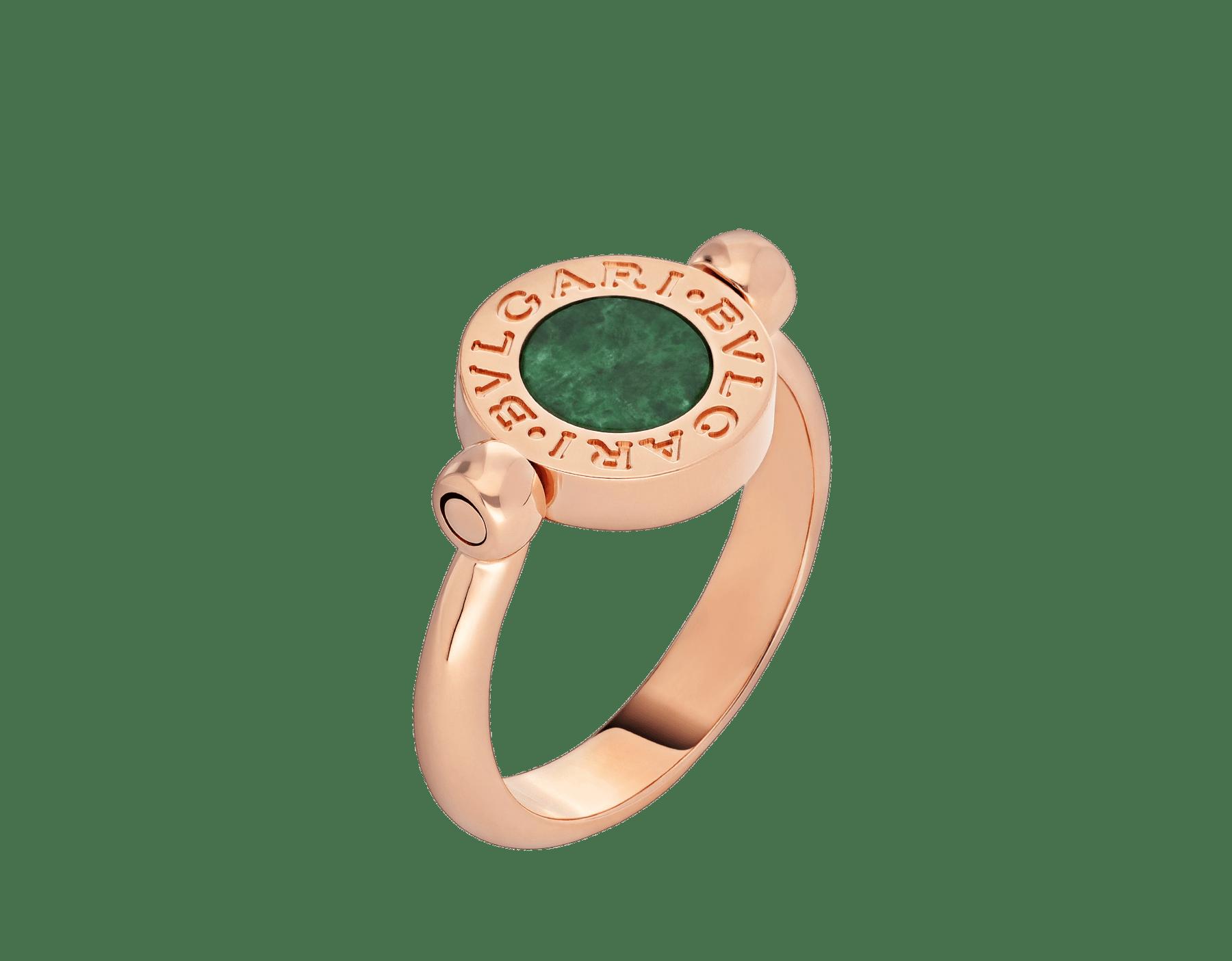 BVLGARI BVLGARI 18 kt rose gold flip ring set with green jade and pavé diamonds AN857356 image 1