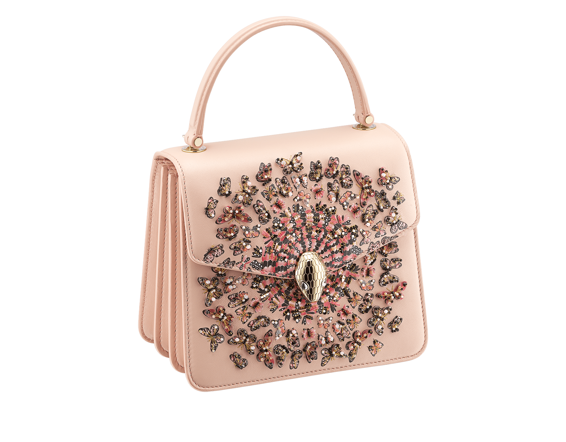 """Mary Katrantzou x Bvlgari"" top handle bag in black nappa leather, with black nappa leather inner lining. New Serpenti head closure in gold-plated brass, finished with seductive crystal eyes. Special Edition. MK-Bejewelled image 2"