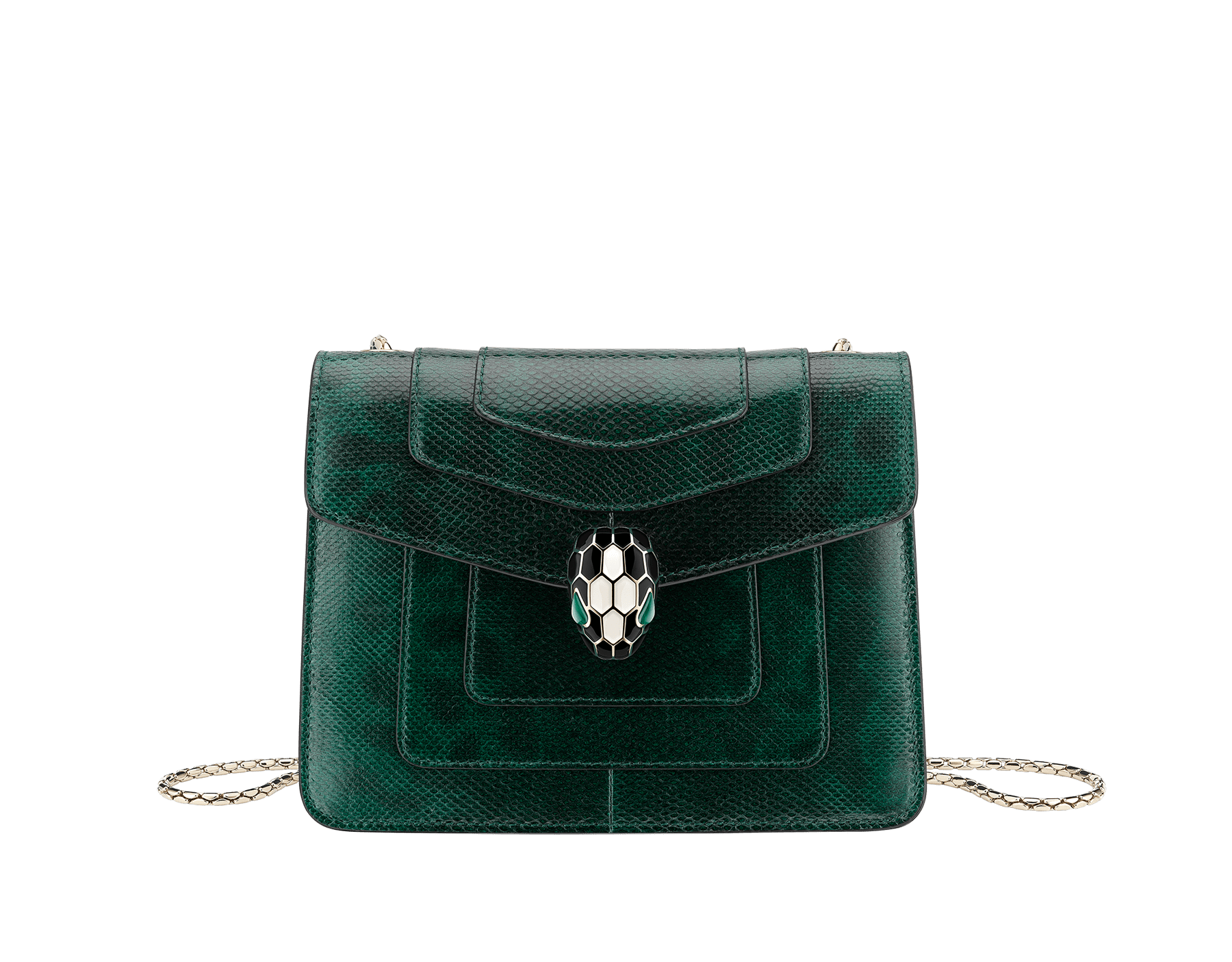"""""""Serpenti Forever"""" crossbody bag in shiny forest emerald karung skin. Iconic snakehead closure in light gold plated brass enriched with black and white enamel and green malachite eyes. 287357 image 1"""