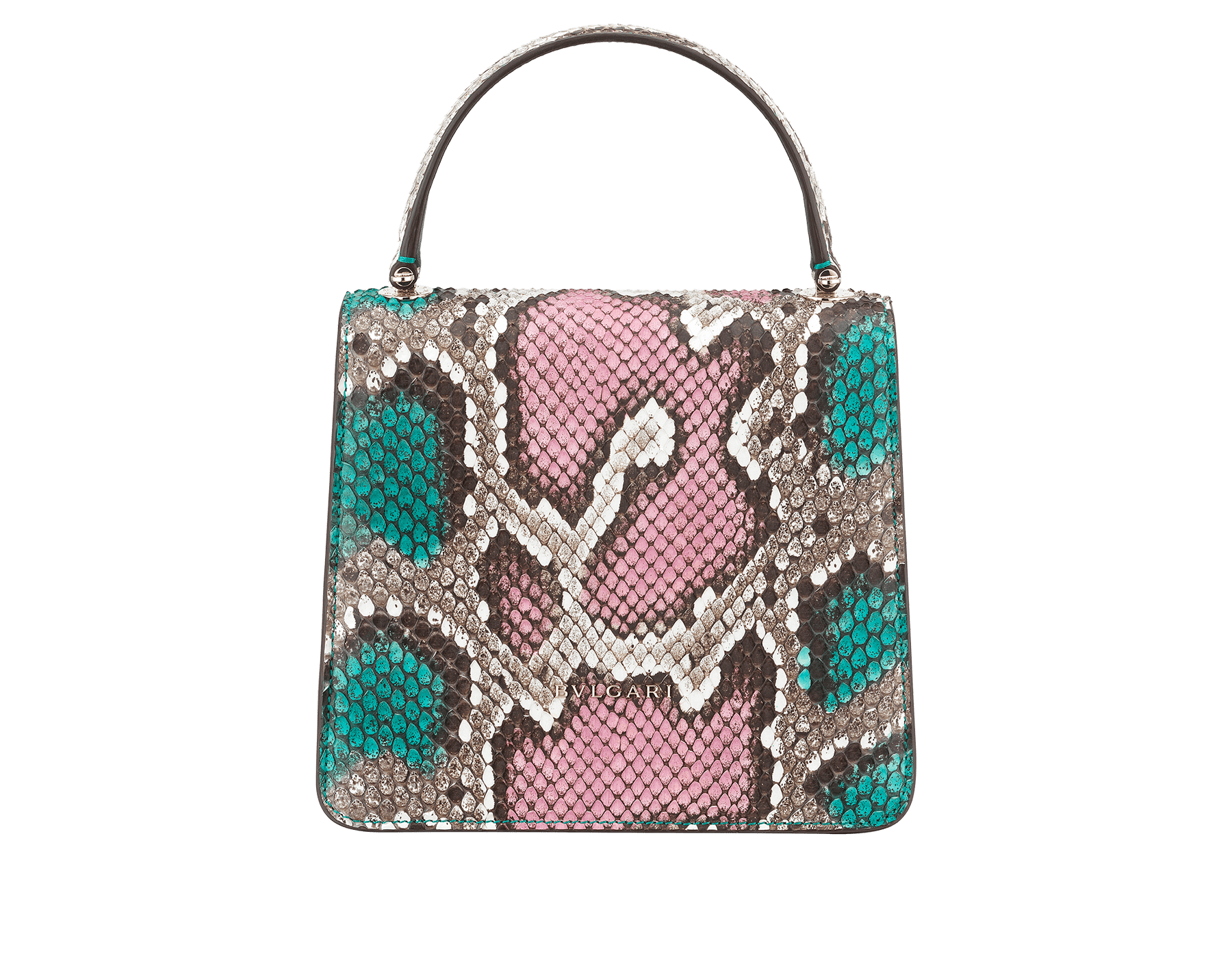 Serpenti Forever crossbody bag in black and white python skin with Whitethunder motif. Snakehead closure in shiny palladium plated brass decorated with black enamel, and black onyx eyes. 752-Pa image 3