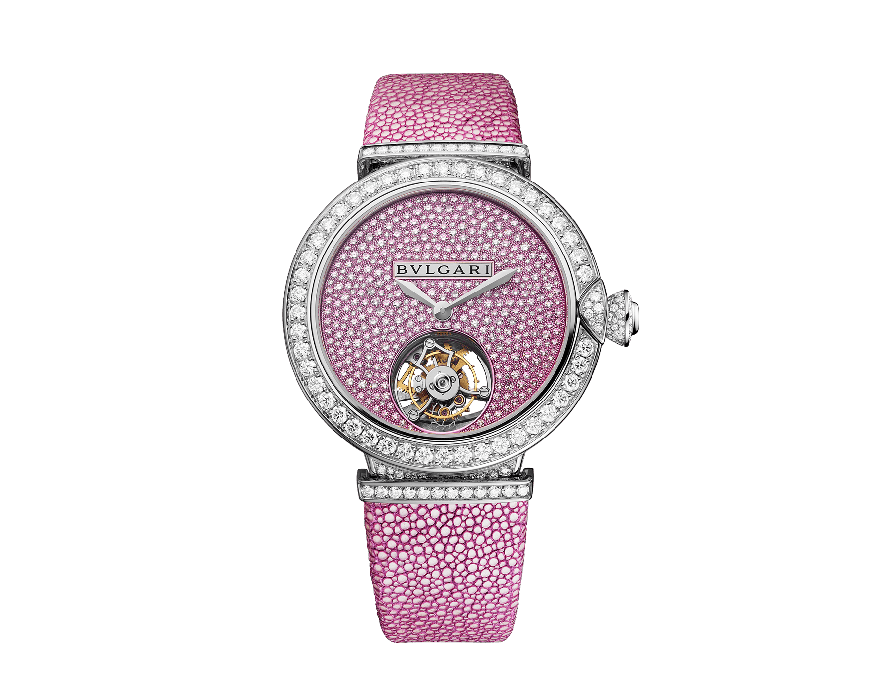 LVCEA Tourbillon Limited Edition watch with mechanical manufacture movement, automatic winding, see-through tourbillon, 18 kt white gold case set with round brilliant-cut diamonds, full-pavé dial with round brilliant-cut diamonds and pink colour finish, and pink galuchat bracelet 102887 image 1