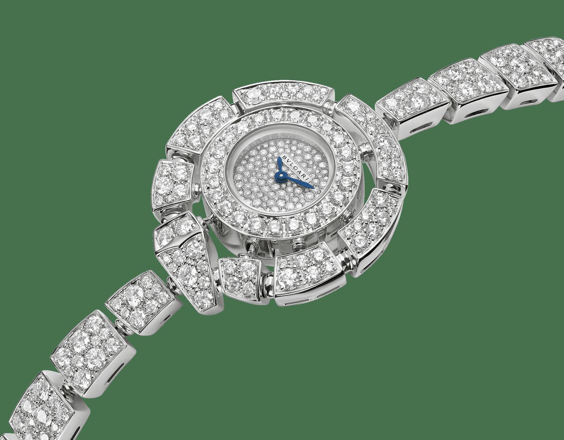 Orologio Serpenti Incantati con cassa e bracciale in oro bianco 18 kt con diamanti taglio brillante e quadrante con pavé di diamanti incastonati a neve. 102535 image 2