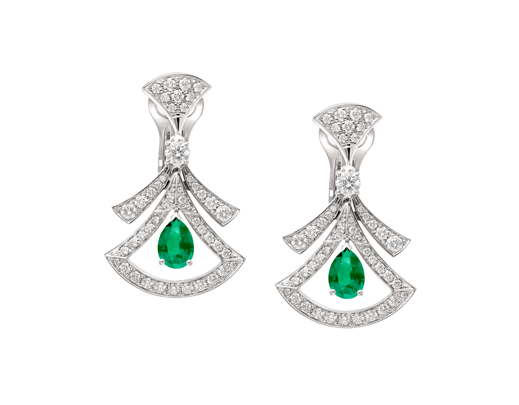 DIVAS' DREAM 18 kt white gold openwork earring set with pear-shaped emeralds, round brilliant-cut and pavé diamonds. 356956 image 1
