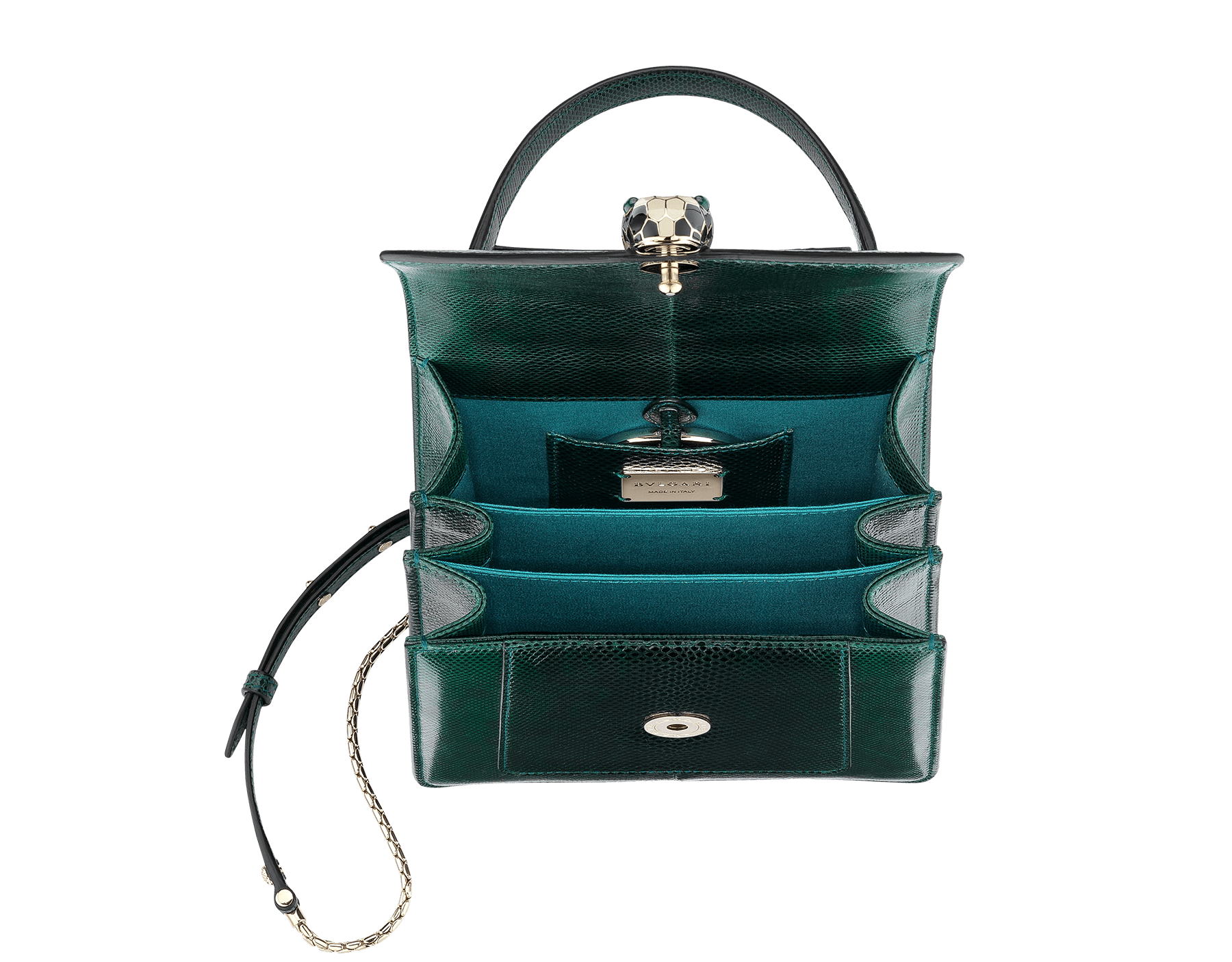 Flap cover bag Serpenti Forever in forest emerald shiny karung skin. Brass light gold plated hardware and snake head closure in black and white enamel with eyes in green malachite. 283517 image 4
